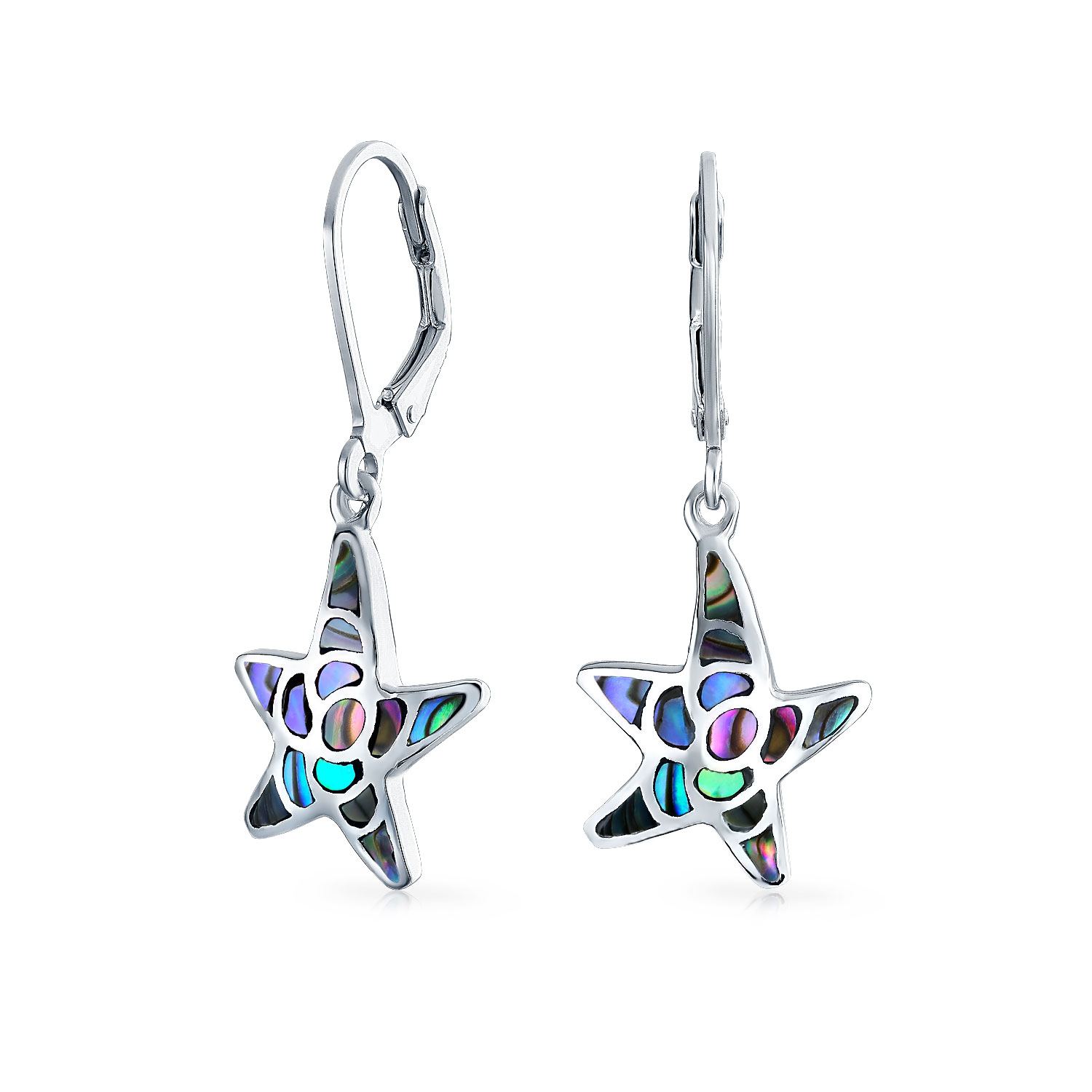 Starfish Abalone Dangling Earring Filegree