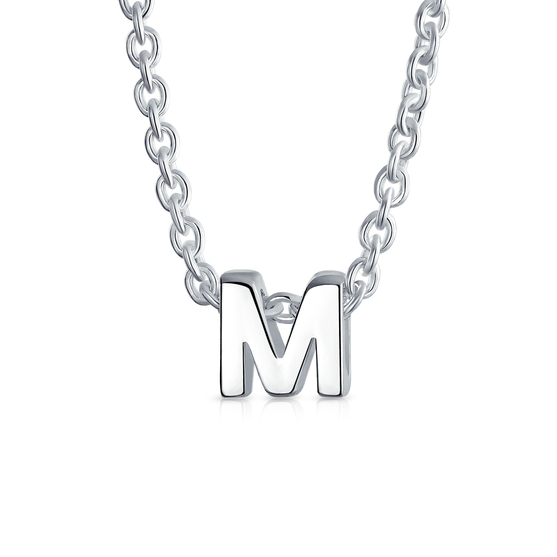 Letter J Block Capital Alphabet Initial Pendant Necklace Sterling Silver