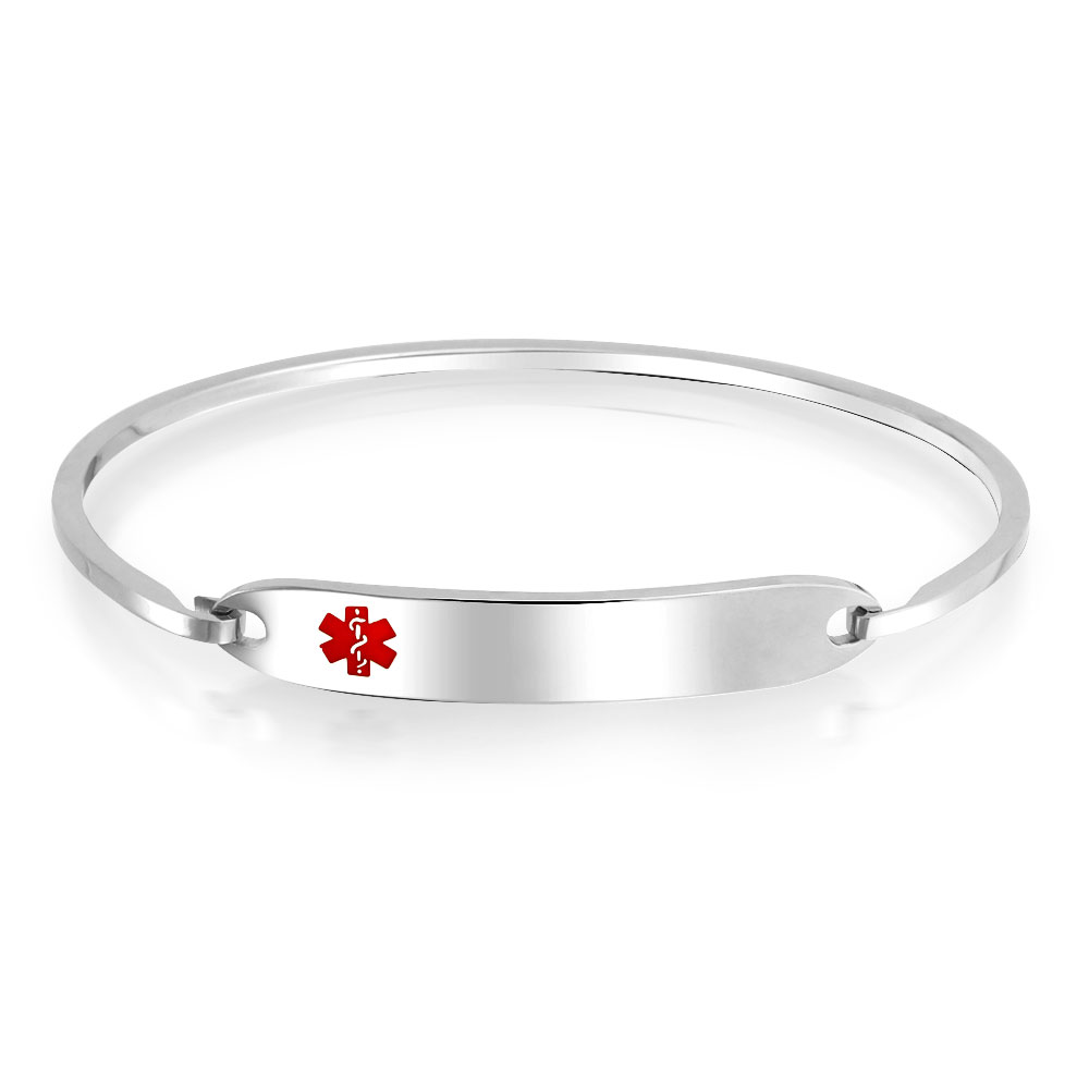 Medical Alert Bracelets >> Details About Medical Doctors Medical Alert Id Bangle Bracelet Stainless Steel