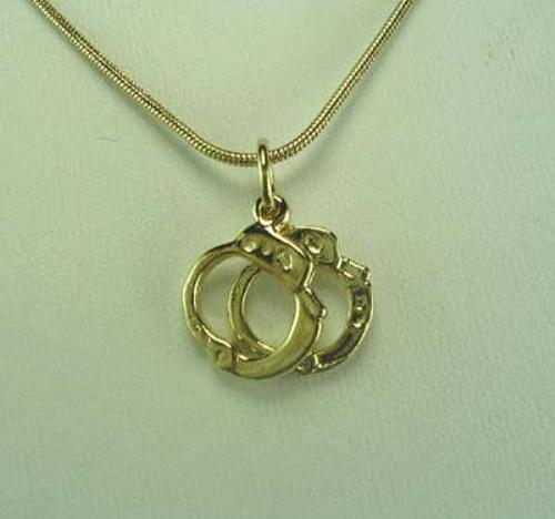 "Handcuff Necklace Gold: 18K Gold Plated Handcuffs Pendant & 18"" Snake Chain"