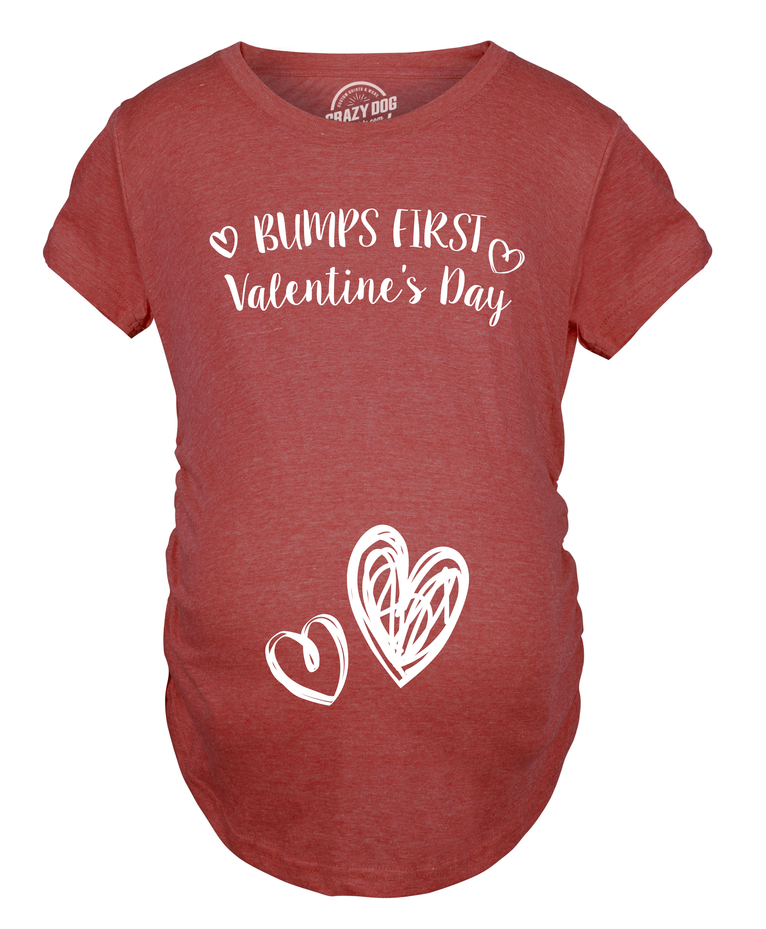374b5219b994a Bumps First Valentine's Day Maternity Shirt Cute Adorable Baby Bump Tee -S