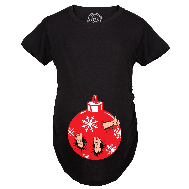 a859bae3 Maternity Christmas Ornament Baby Pregnancy Tshirt Cute Xmas Holiday Tee For  Mom To Be -S