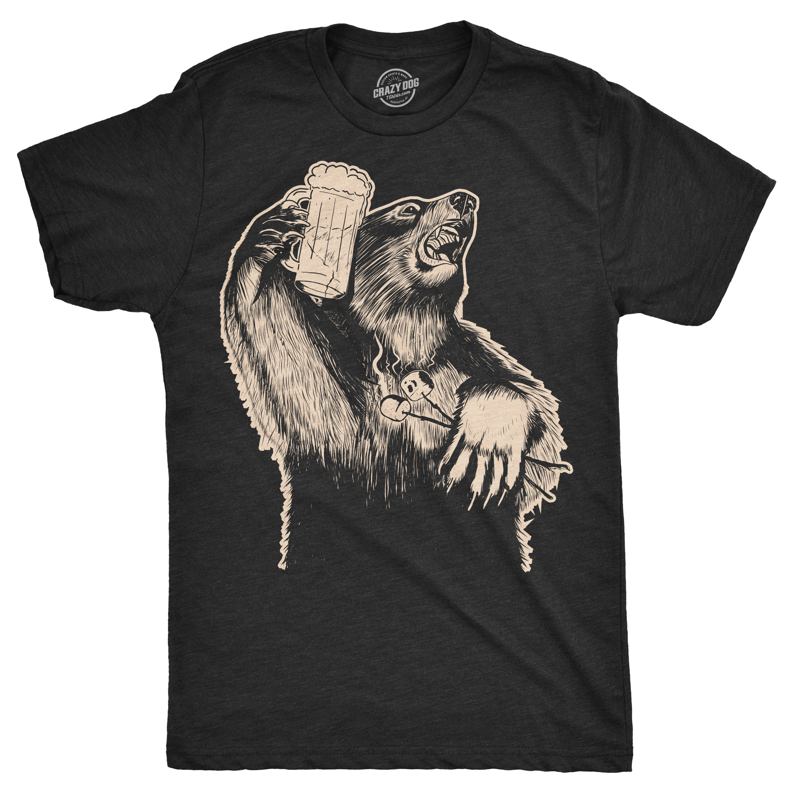 0c9b2ed5f Mens Party Bear Tshirt Funny Drinking Grizzly Tee For Guys (Heather Black)  -S