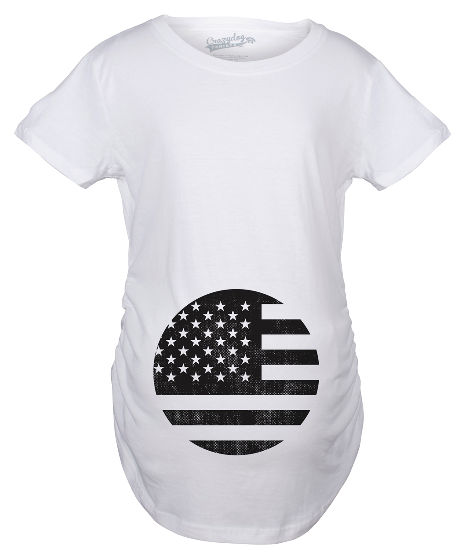 19e6dbb13ff8e Maternity American Flag Pregnancy Tshirt Cool Patriotic USA Belly Bump Tee  -S