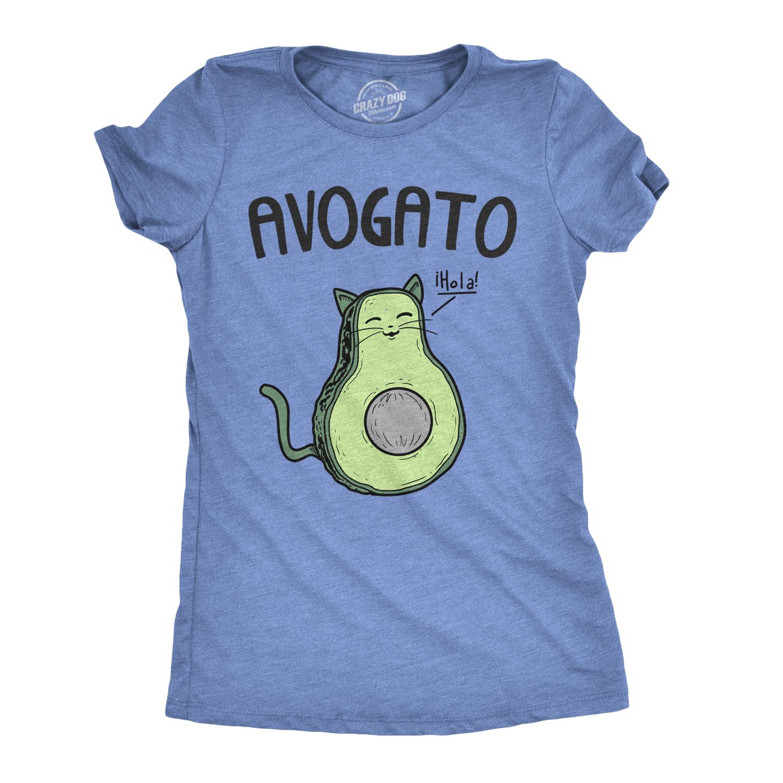bc7577132 Womens Avogato Funny T shirt Avocado Cat Cute Cat Face Novelty Tee (Blue) -  S