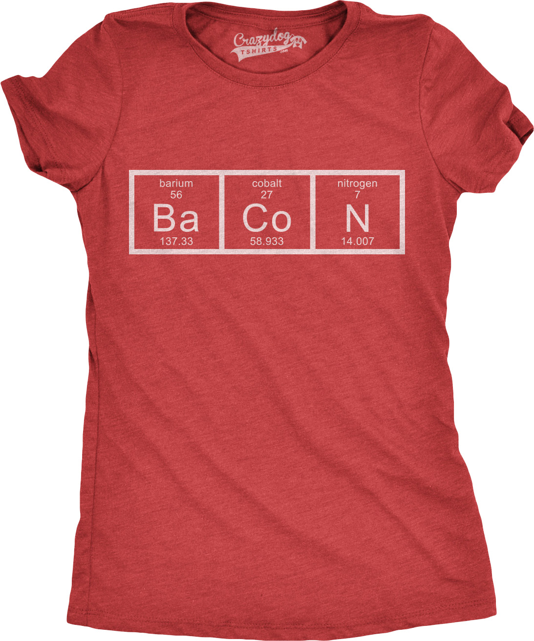 80d8adce ... Funny Bacon T Shirts: Womens Chemistry Of Bacon T Shirt Funny Periodic  Table Tee
