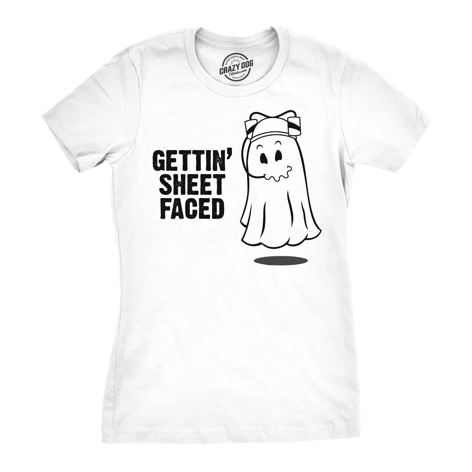 b94f3d6ad Women's Getting Sheet Faced T Shirt Funny Halloween Drinking Shirt Ghost Tee  (white) S