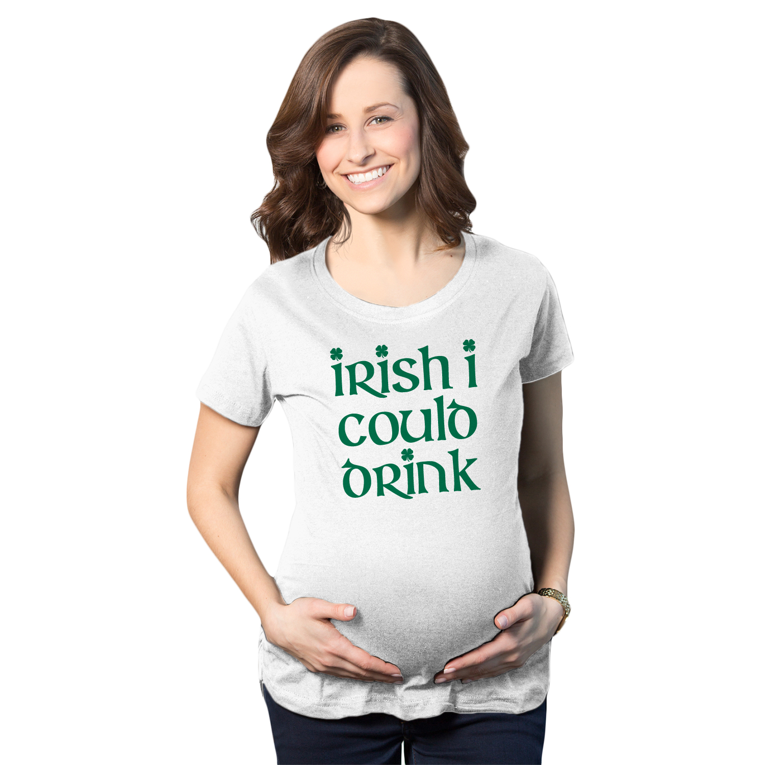 a2eae5aac38 Maternity Irish I Could Drink Funny St. Patrick s Pregnancy Announcement T  shirt (White) S