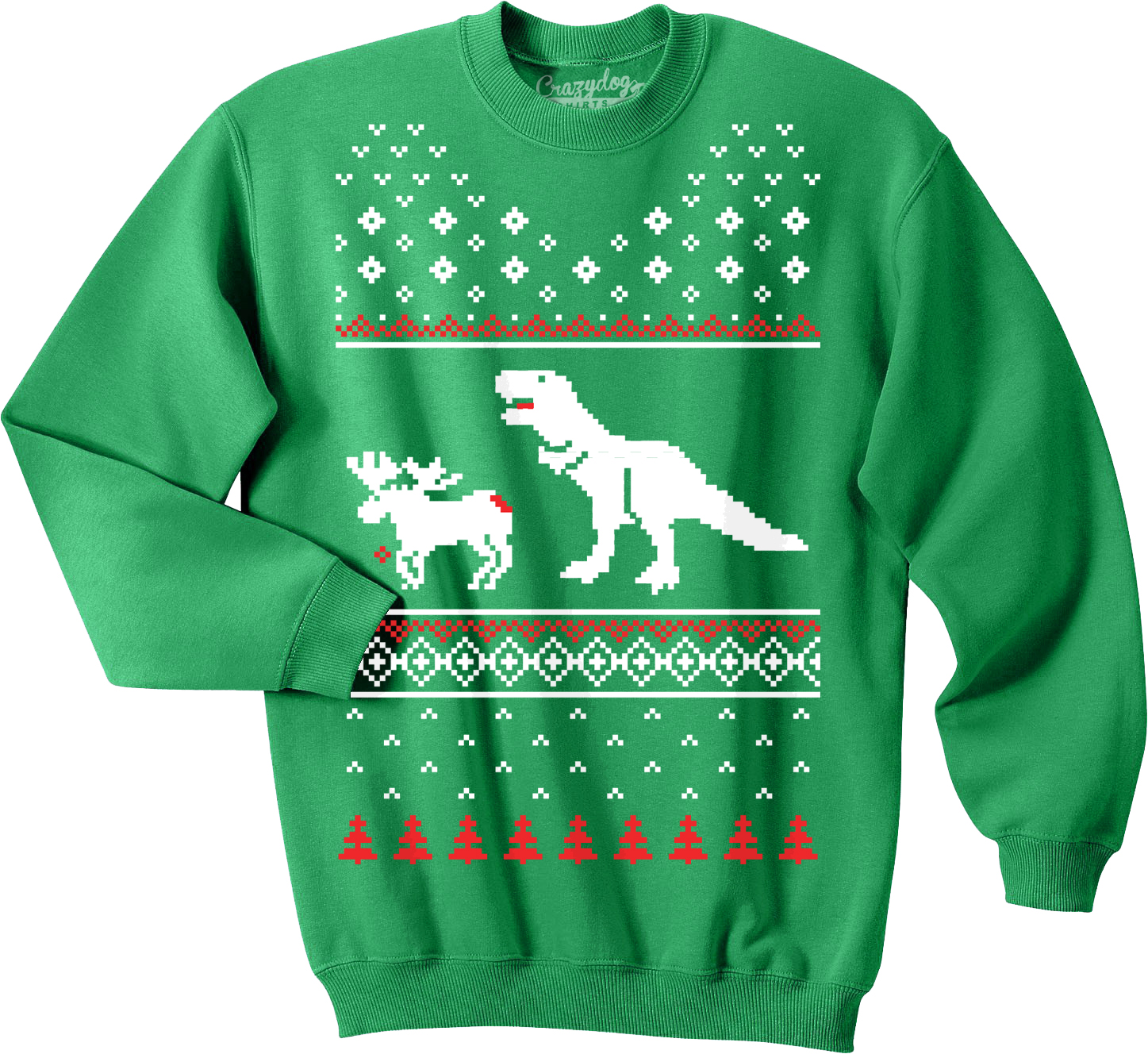 T Rex Attacking Moose Christmas Ugly Sweater Unisex Crew Neck