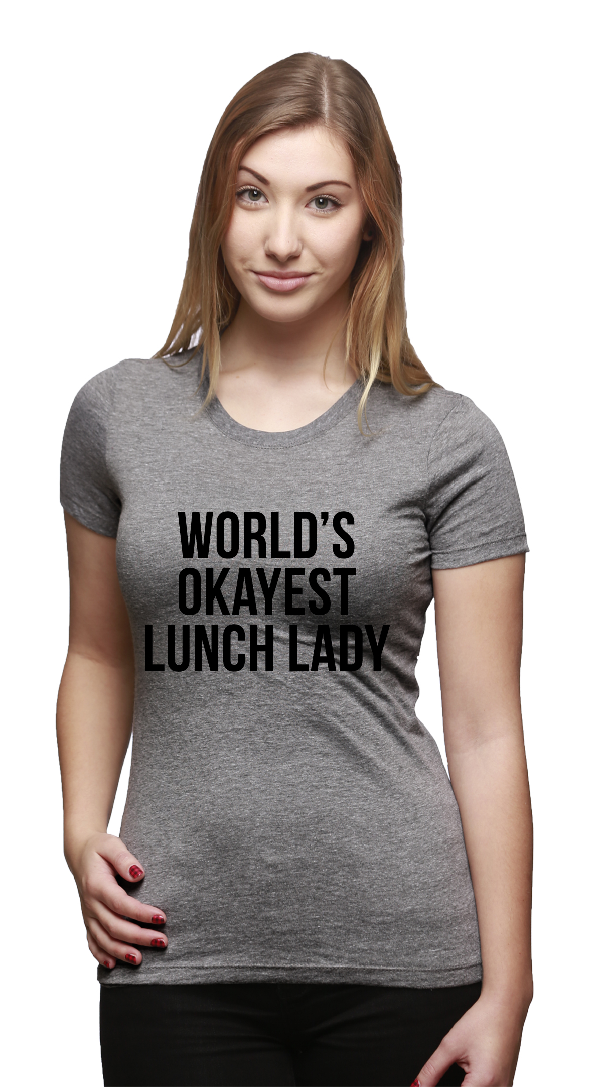 womens worlds okayest lunch lady funny school career t shirt for ladies grey ebay. Black Bedroom Furniture Sets. Home Design Ideas