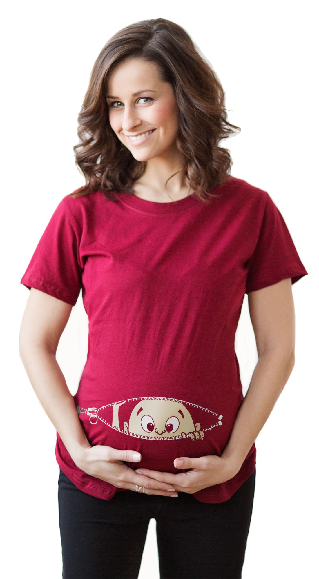 e33a038f652e3 Maternity Baby Peeking Shirt Funny Pregnancy Cute Announcement Pregnant T  shirts (Red) S