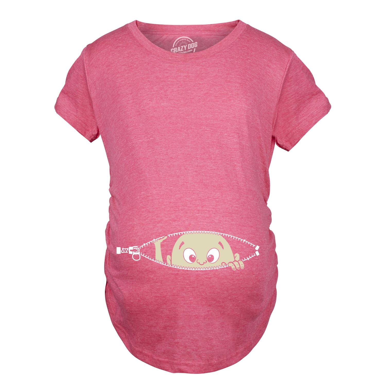 81261c76f Maternity Baby Peeking Shirt Funny Pregnancy Cute Announcement Pregnant T  shirts (Pink) S