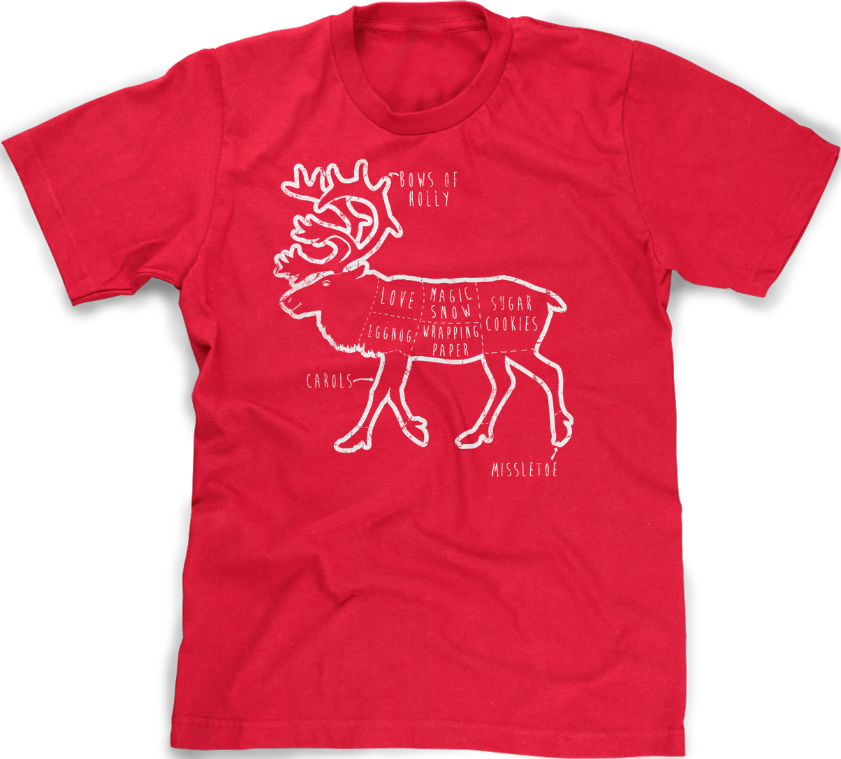 Youth Reindeer Parts T Shirt Funny Christmas Shirt Xmas Tee for Kids ...