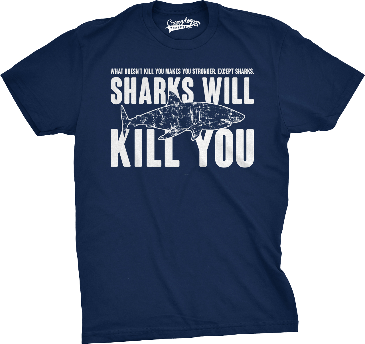 7dc2514d89 Mens Sharks Will Kill You Funny T Shirt Sarcasm Novelty Offensive Tee For  Guys (Navy) - M