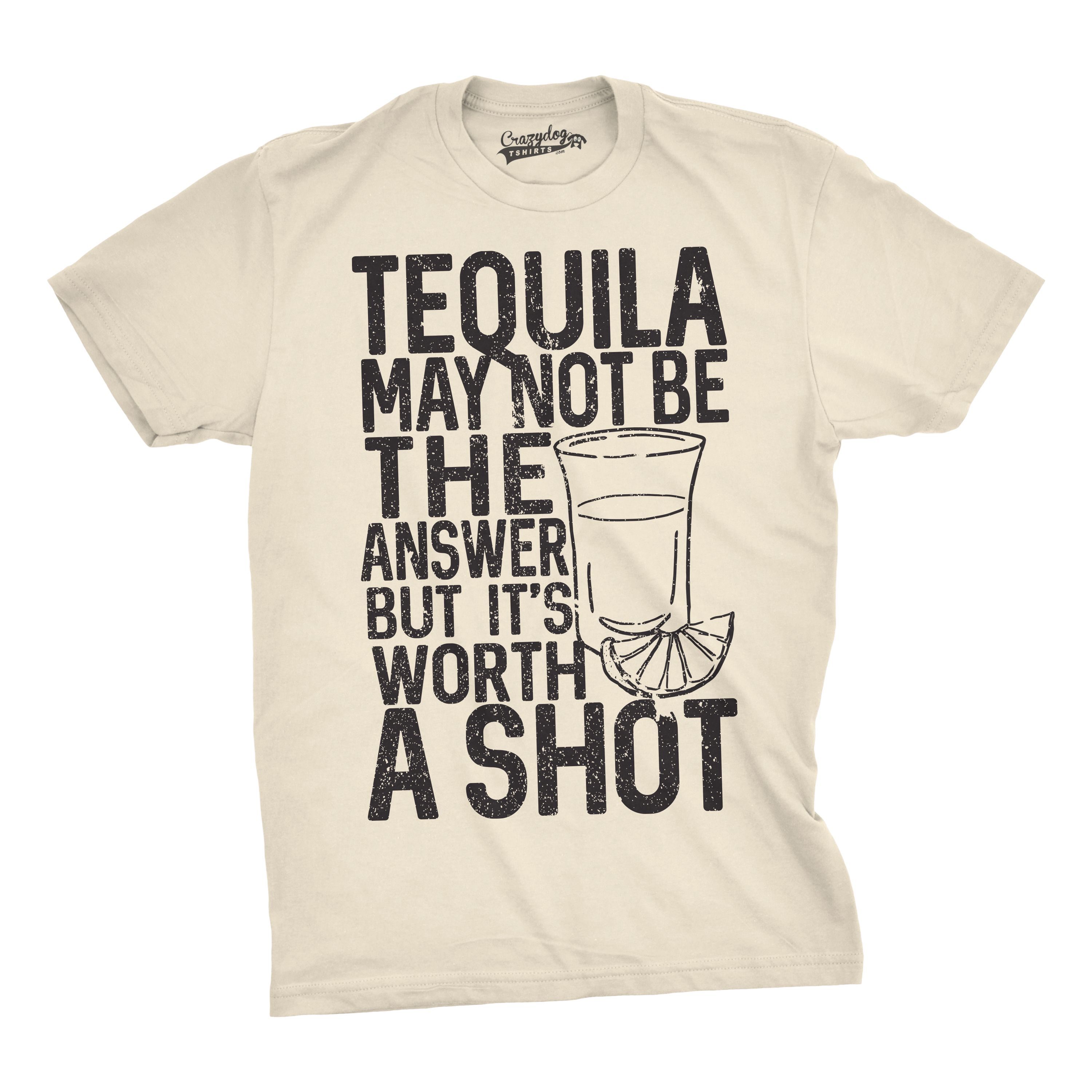 a0e7be920 Mens Tequila Not The Answer Worth a Shot Funny T shirts Hilarious Cinco De  Mayo T shirt (Cream) -S