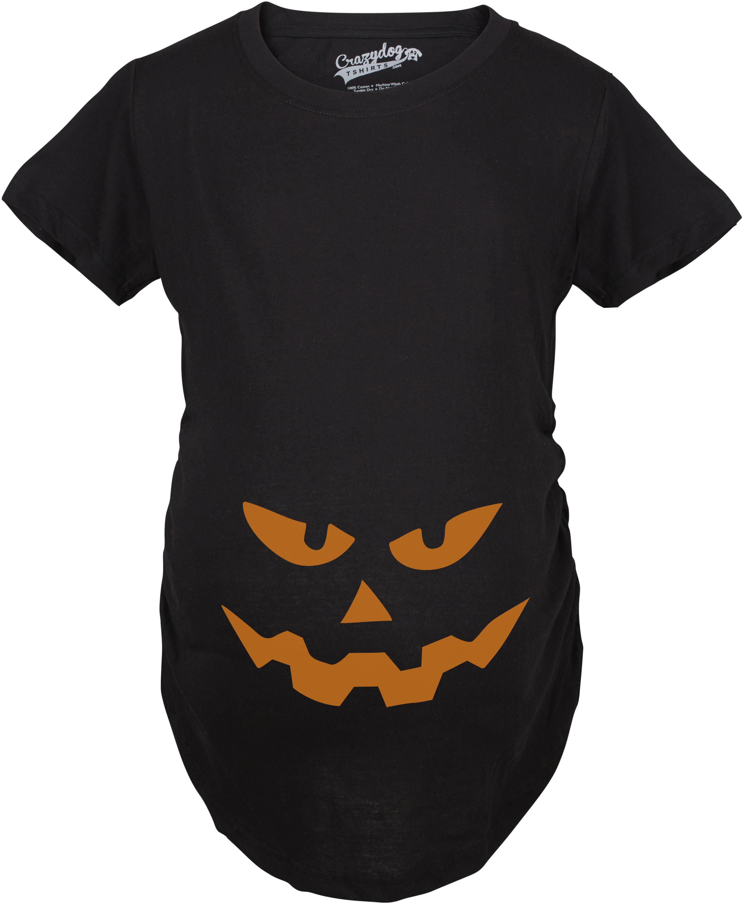 e1bccd00607e8 Maternity Triangle Nose Pumpkin Face Halloween Pregnancy Announcement T  shirt (Black) S