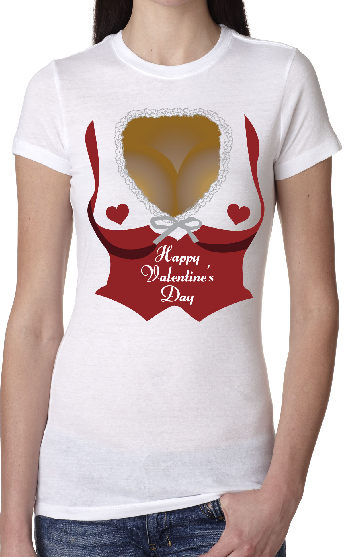 56fc7f460da Womens Valentines Day Cleavage Funny T shirt Hearts Relationship Tee for  Ladies (White) S