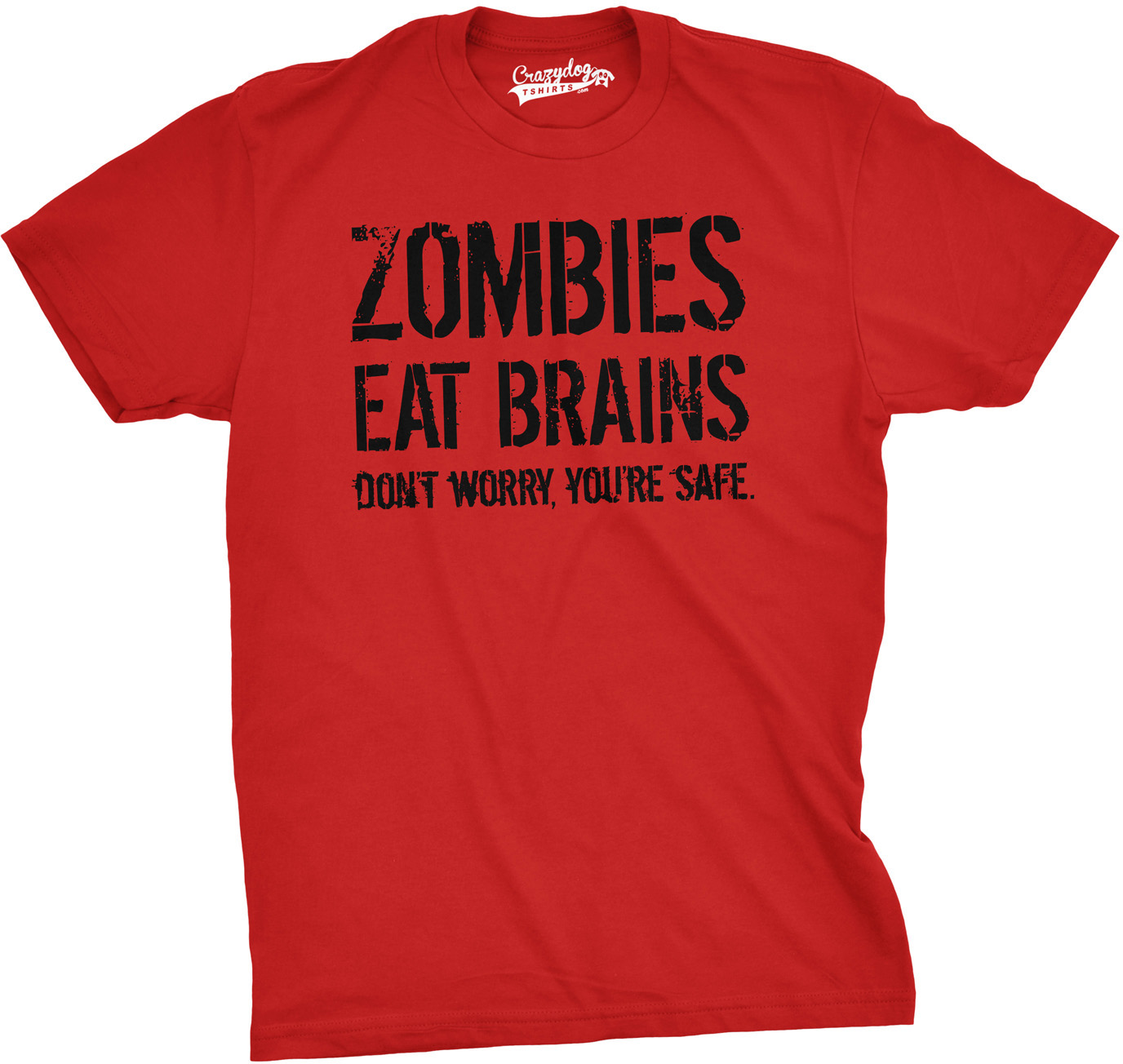270370721 Mens Zombies Eat Brains So You're Safe Funny T Shirt Living Dead Outbreak  Tee (Red) - S