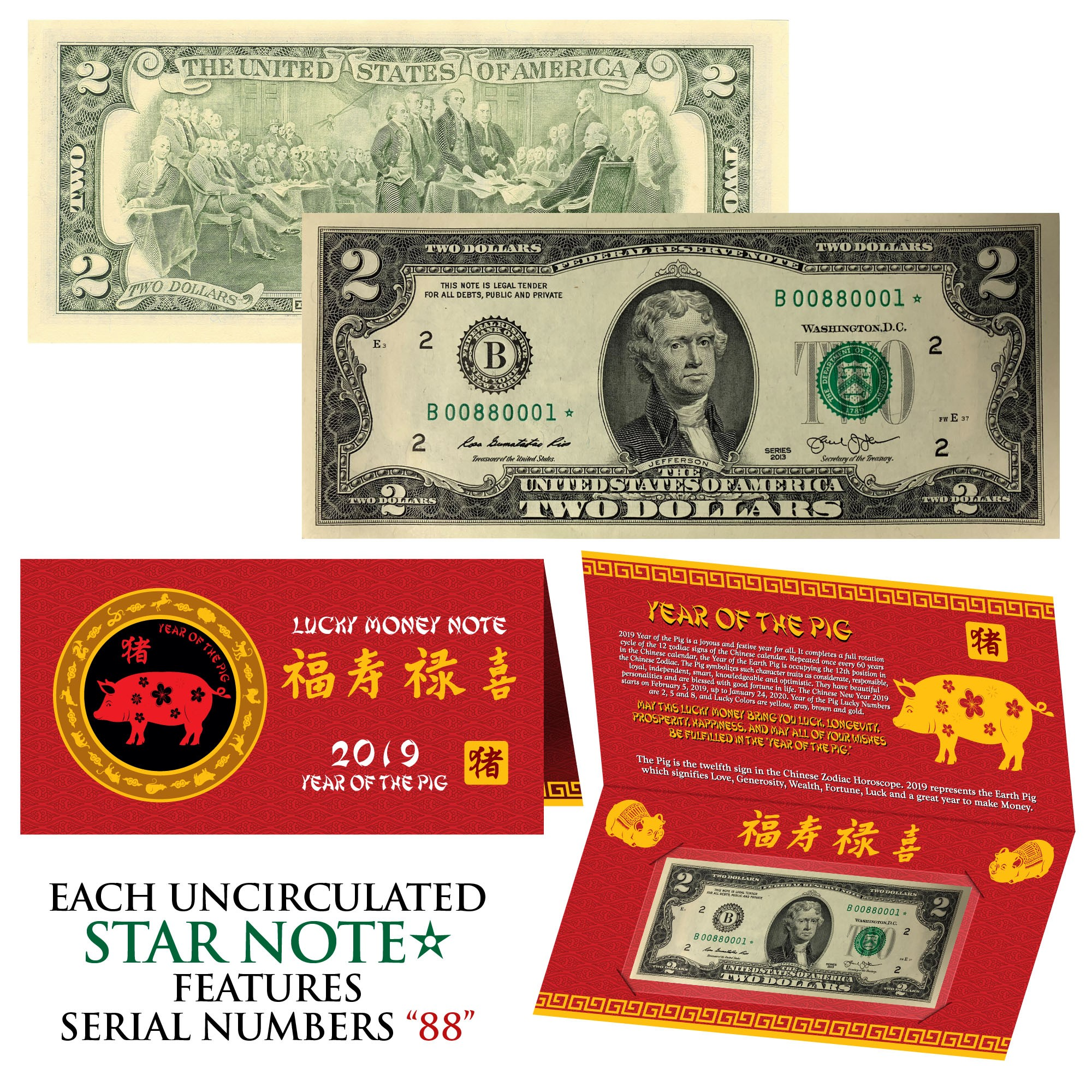 Details about 2019 STAR NOTE Lunar Year of the PIG Lucky Money $2 US Bill  w/ Red Folder S/N 88