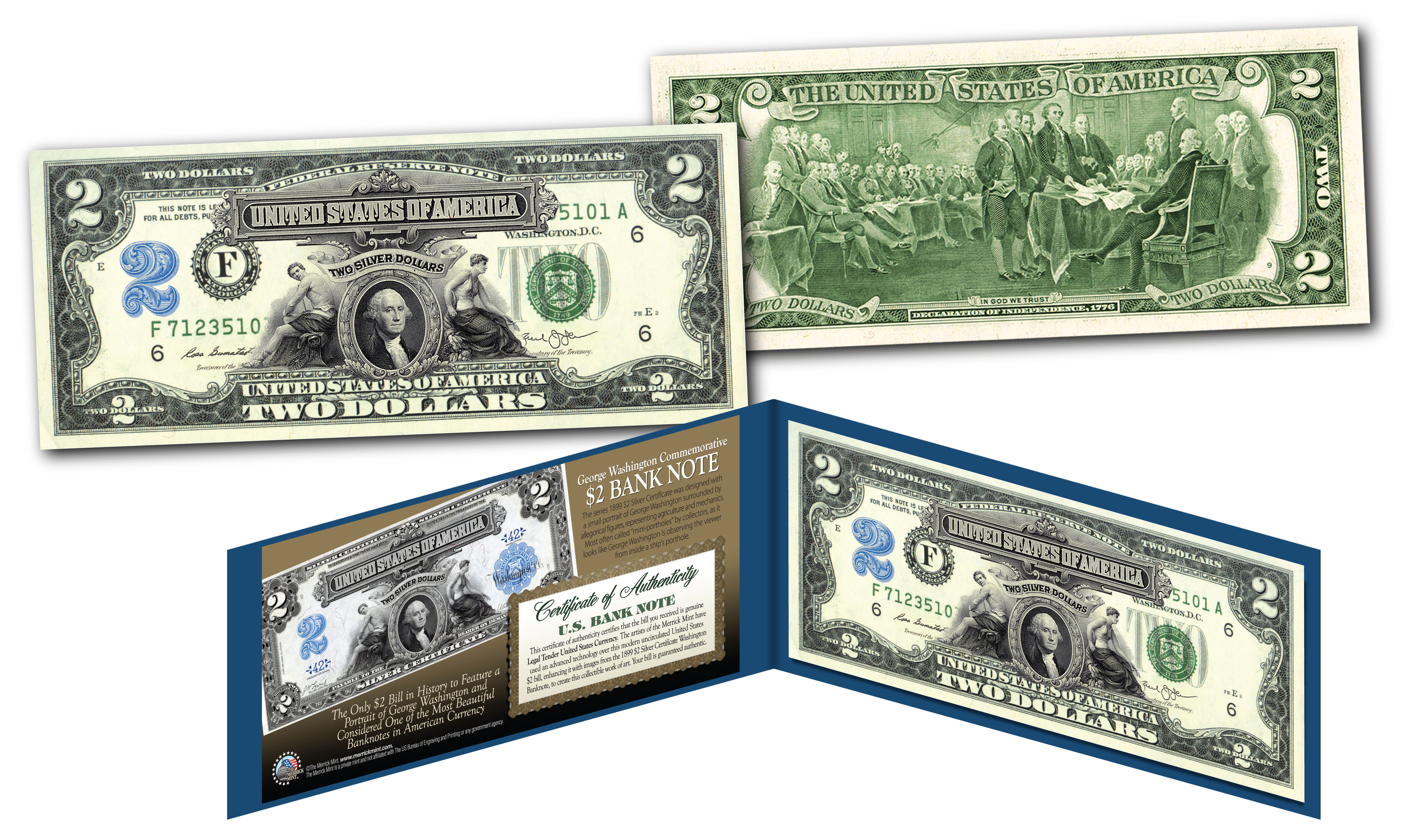 1899 George Washington Two Dollar Silver Certificate Hybrid New