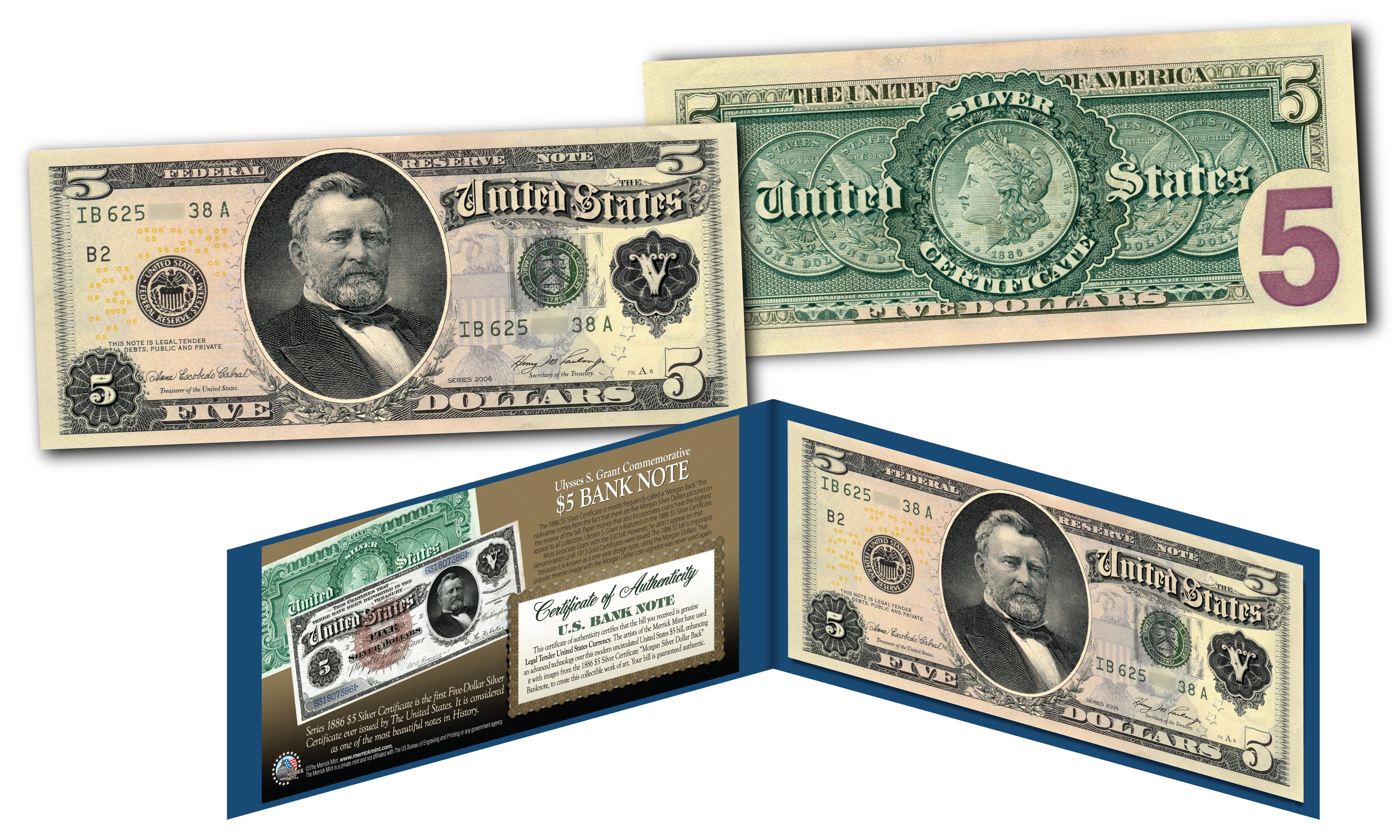 Morgan Silver Back 1886 5 Grant Silver Certificate Banknote On