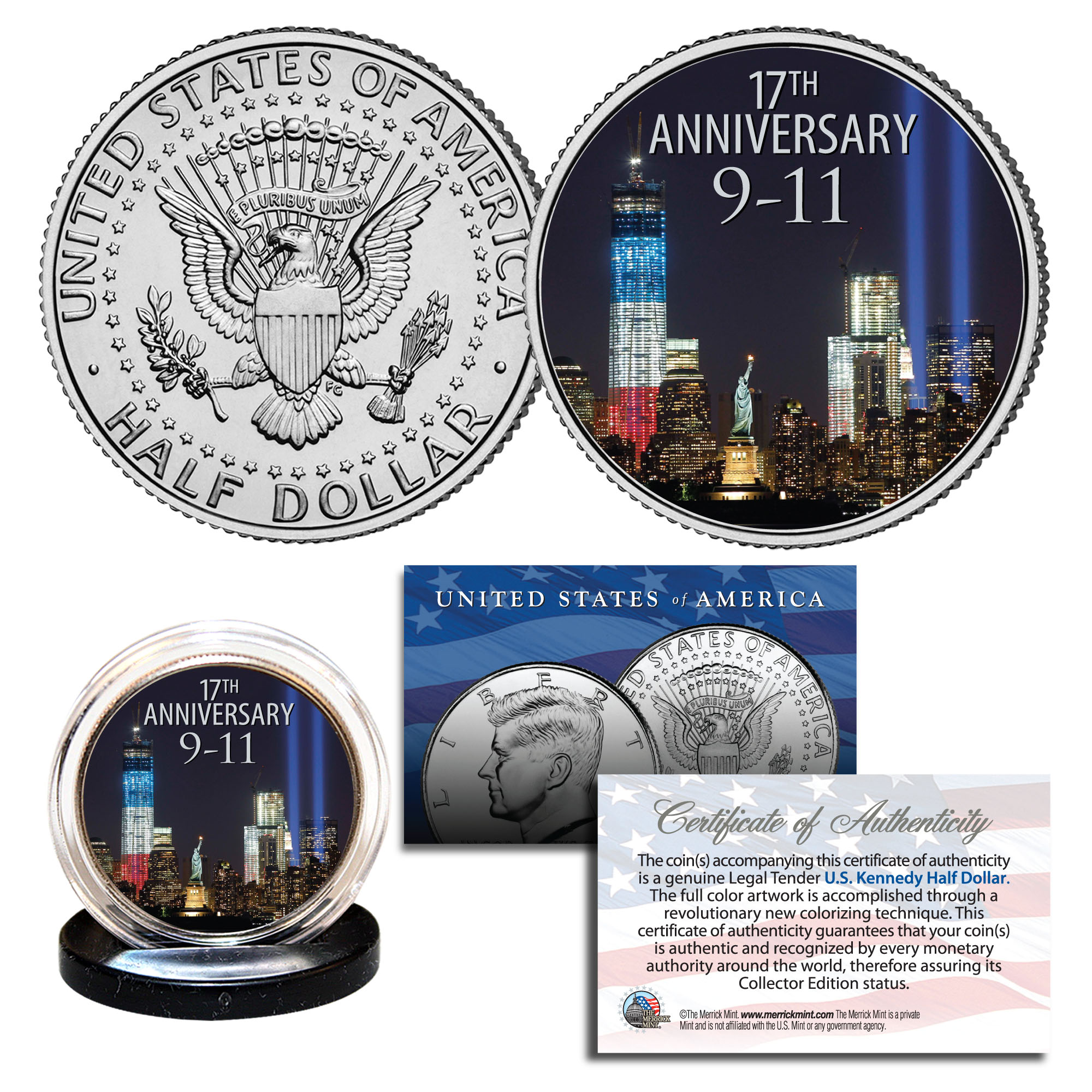 7th Anniversary 9//11 New York State Quarter U.S WORLD TRADE CENTER Coin WTC
