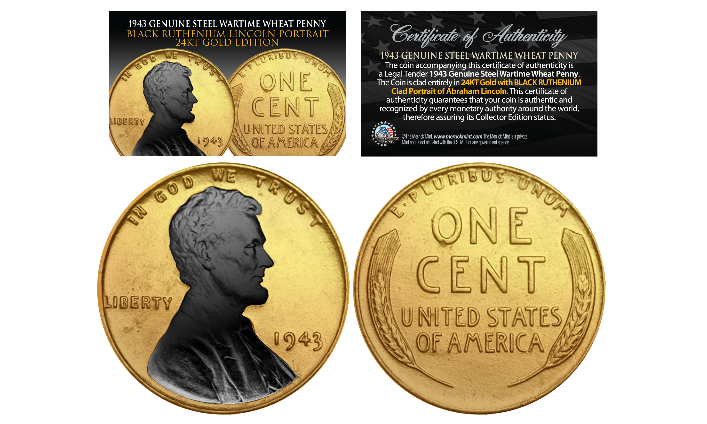 1943 Gold Plated Steel Wartime Wheat Penny Coin With Black