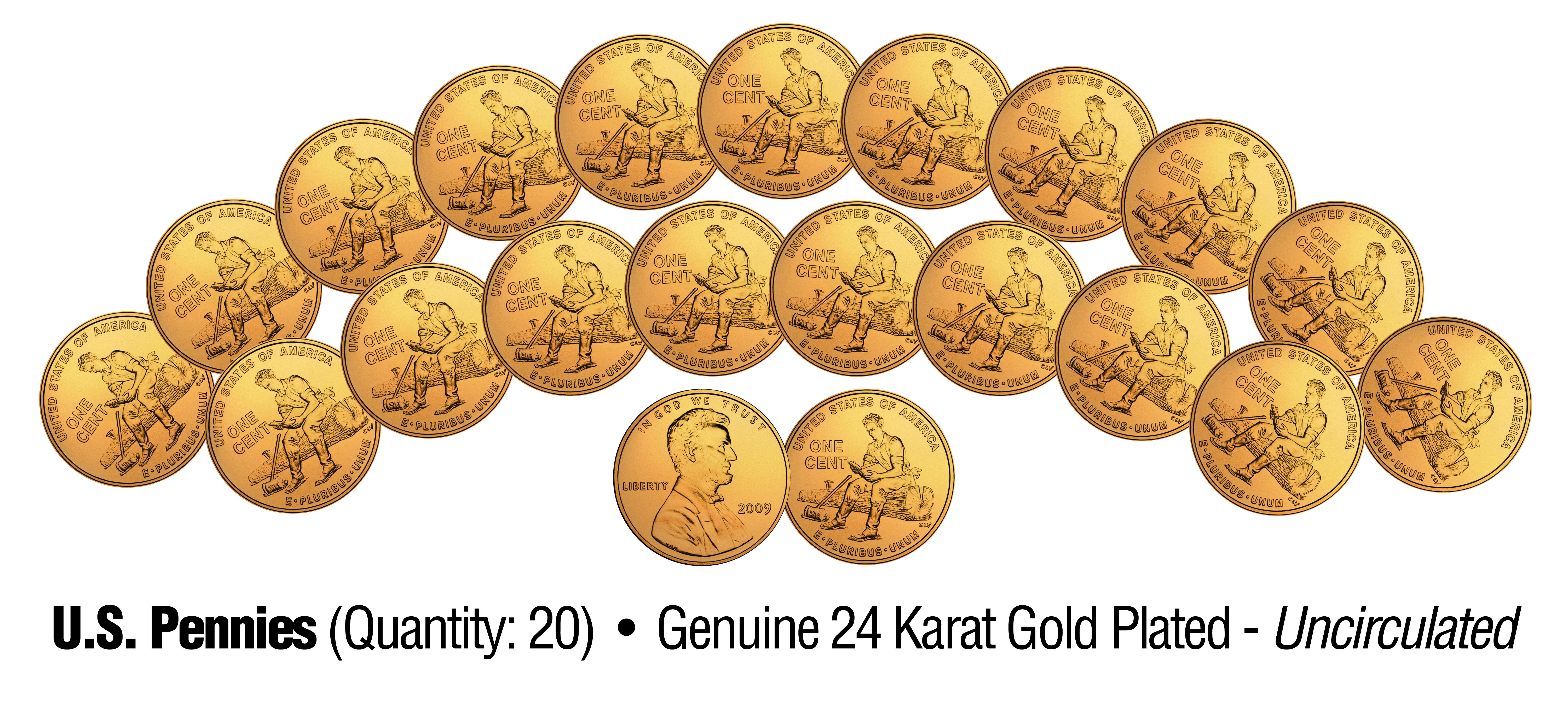 24K Gold Plated 2009 Lincoln Pennies 4 Coin Set