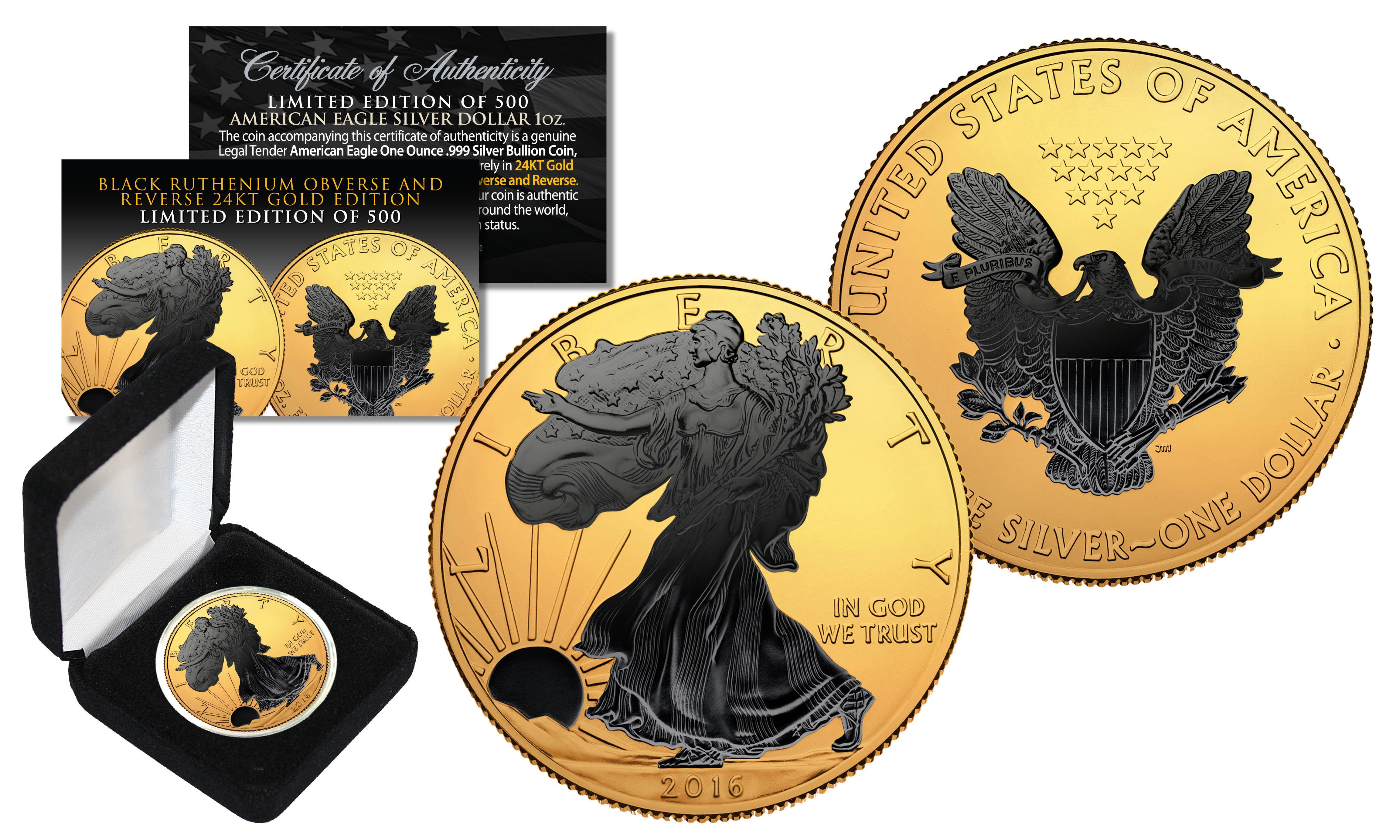 2018 1 OZ SILVER $1 AMERICAN EAGLE COIN BLACK RUTHENIUM-24KT BLACKOUT COLLECTION