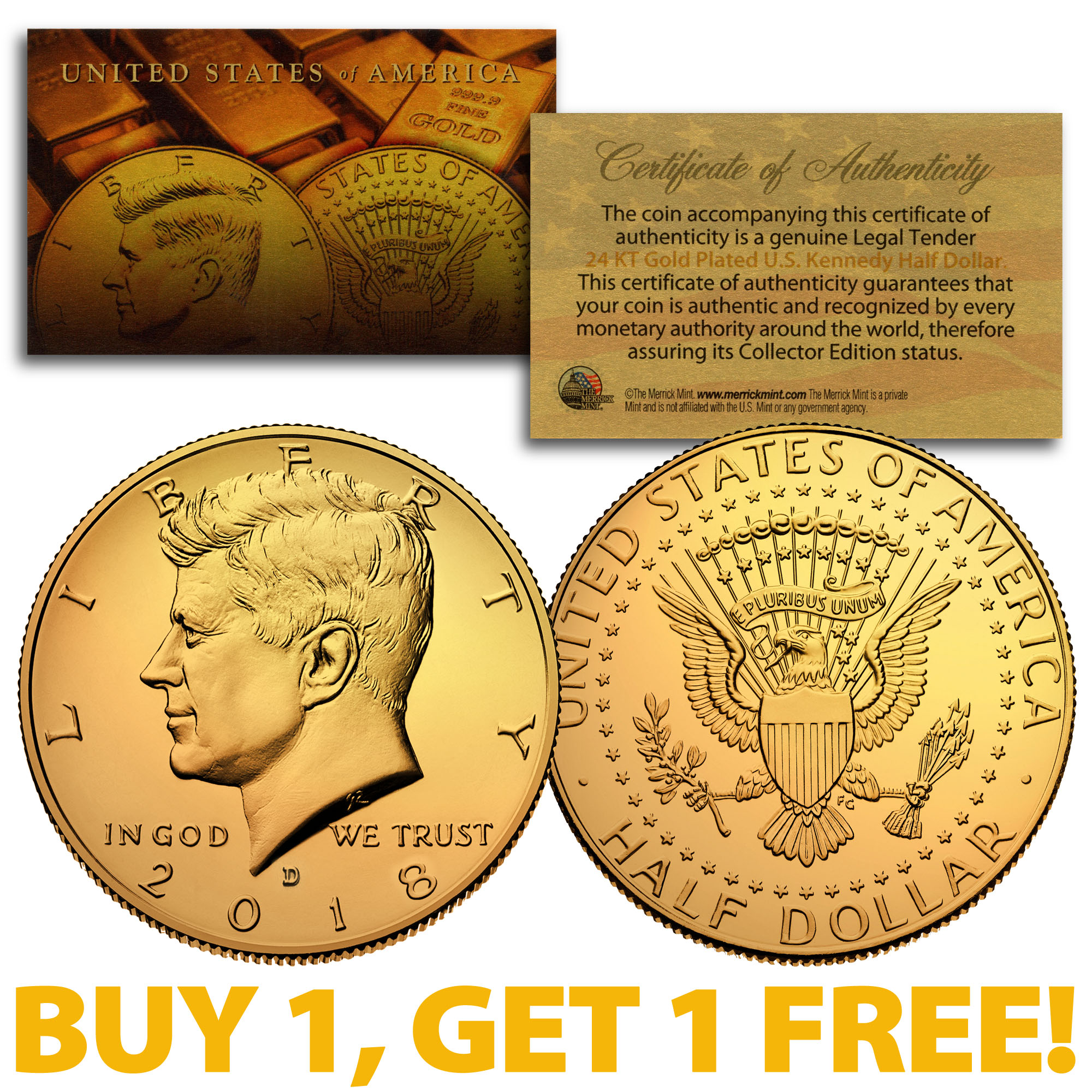 w// AIR TIGHT  CAPSULE ! 24 K  GOLD PLATED JFK KENNEDY HALF DOLLAR COIN