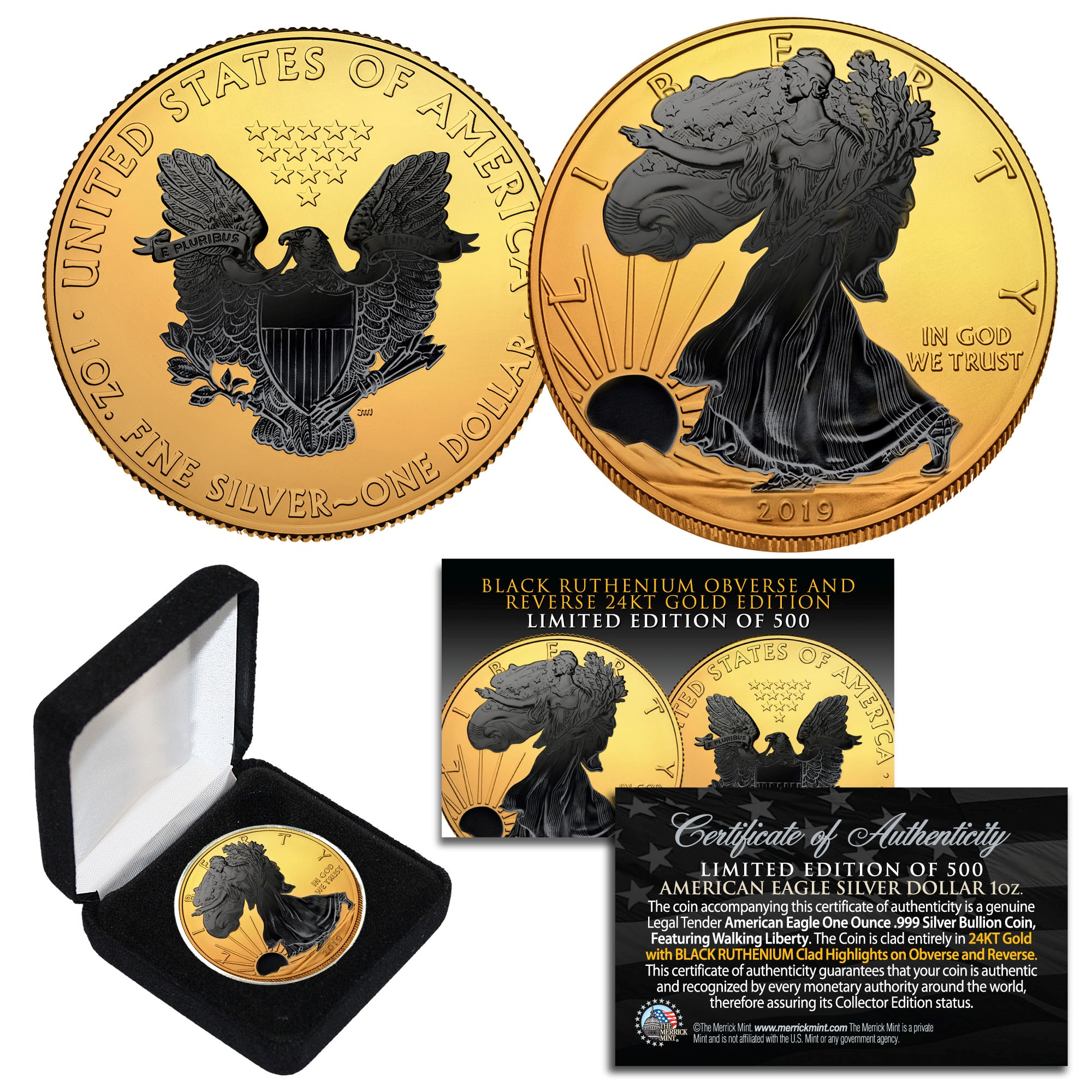 2018 BLACK RUTHENIUM 1 Oz 999 Silver American Eagle Coin 24K Gold Gilded 2-Sided