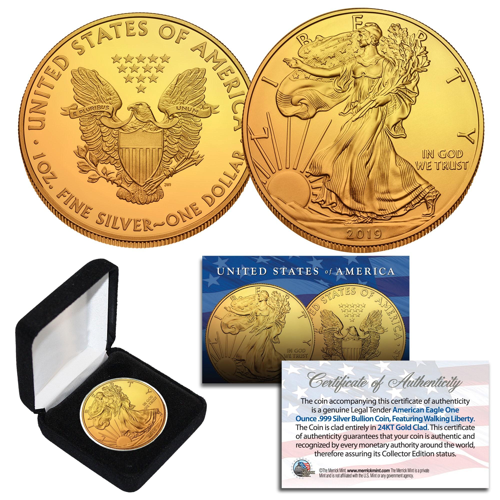 24K ROSE GOLD 2019 BLACK RUTHENIUM 1oz .999 Fine Silver American Eagle Coin