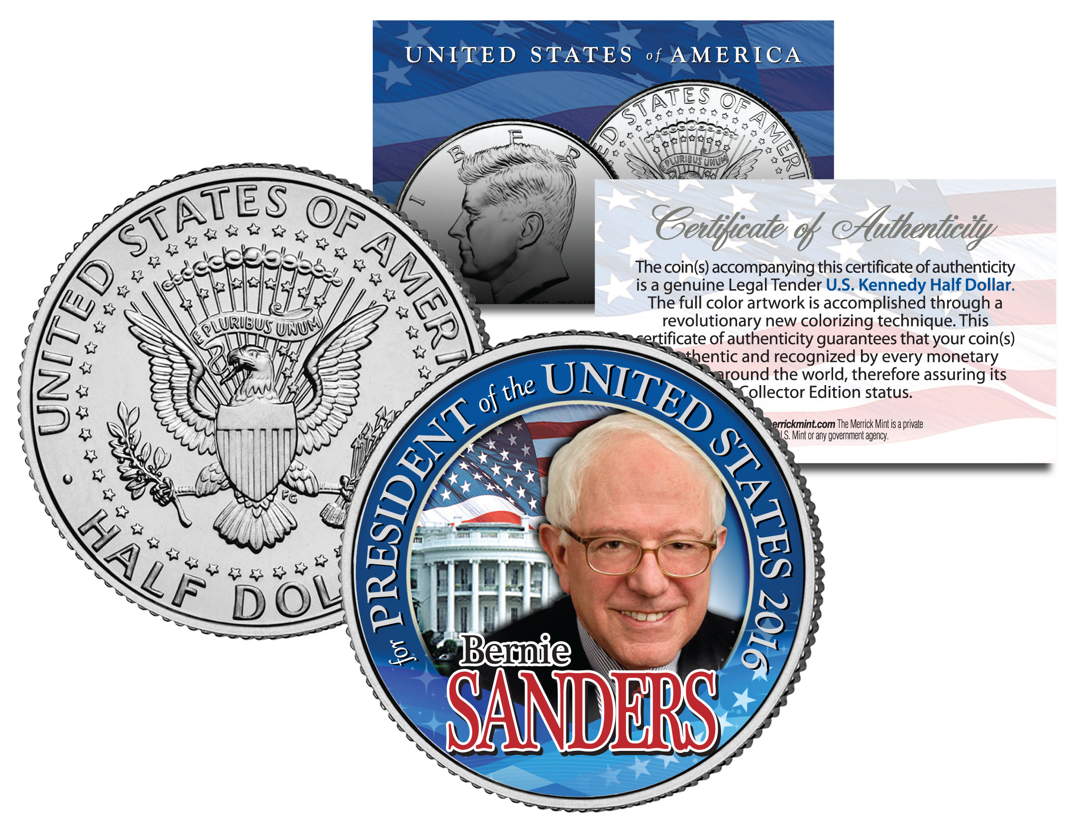 bernie sanders for president 2016 campaign colorized jfk half dollar