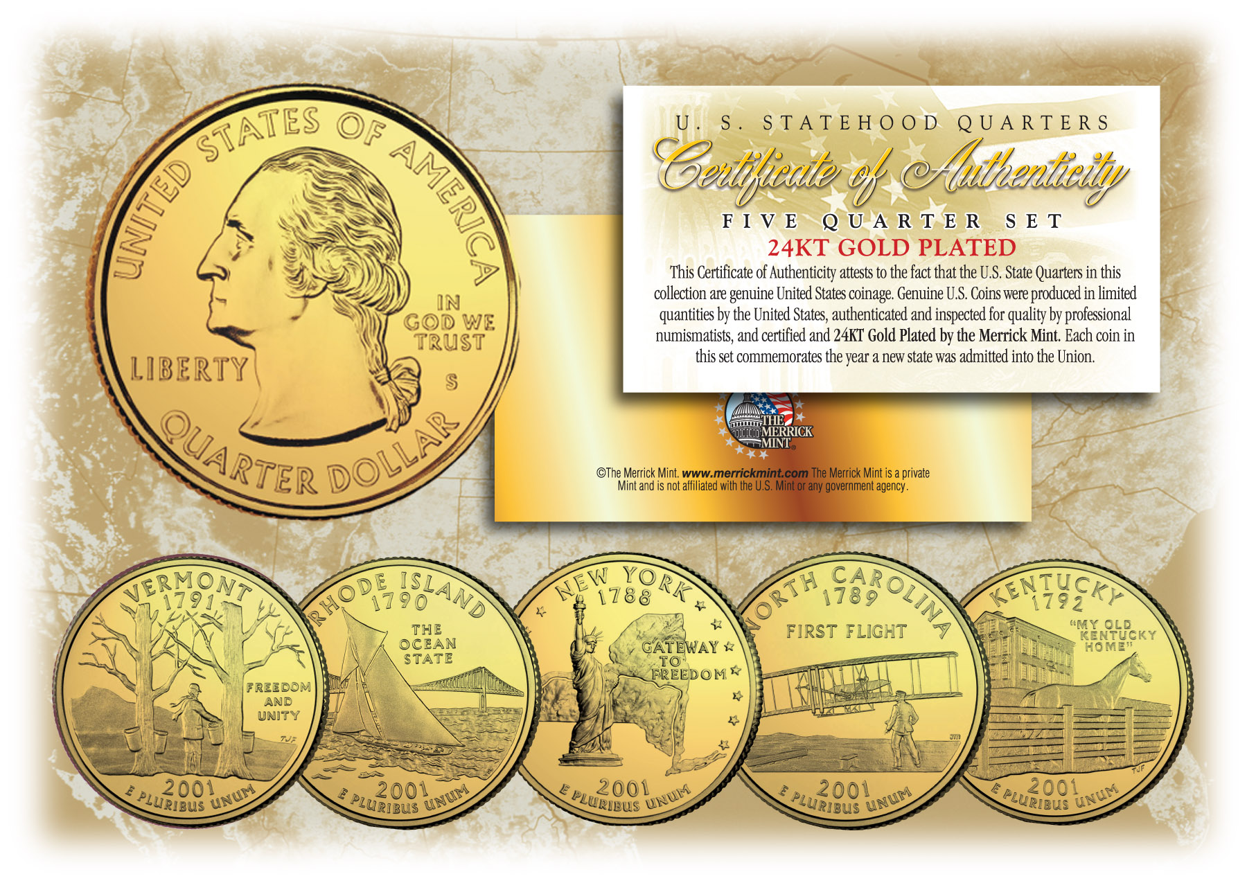 BRETT FAVRE 24K Gold Plated US Statehood Colorized Quarters 10-Coin Complete Set