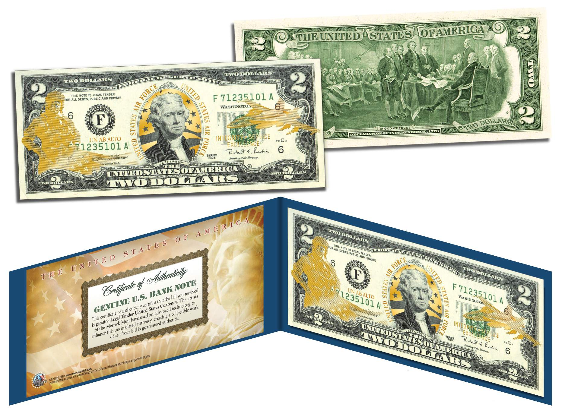United States Air Force 2 Bill U S Legal Tender Gold