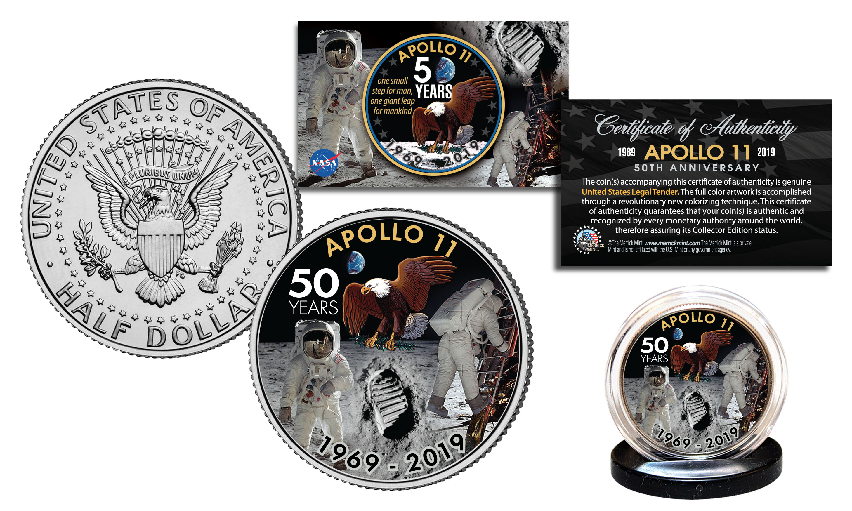 Apollo 11 Nasa Moon Landing 50th Anniversary Official Legal Tender $2 U.s Apollo Bill Without Return Exploration Missions