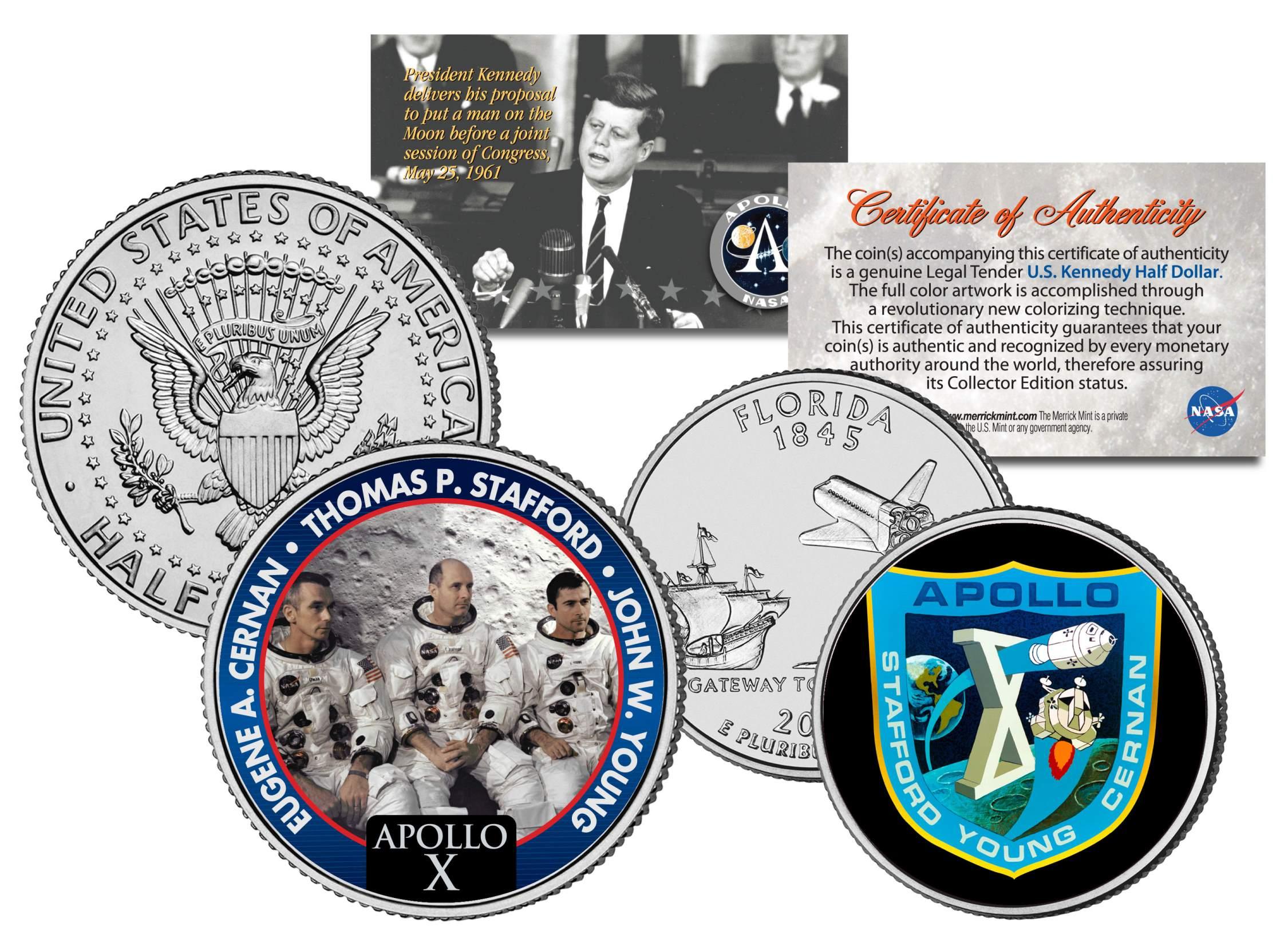 APOLLO 10 SPACE MISSION 2-Coin Set US Quarter /& JFK Half Dollar NASA ASTRONAUTS