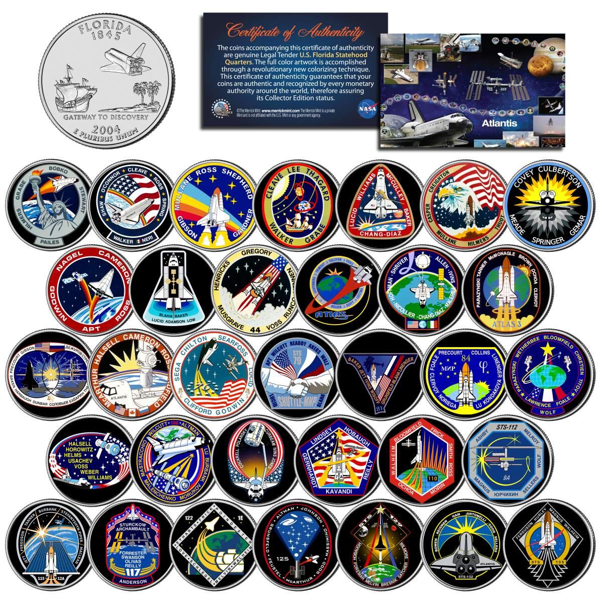 33-Coin Set NASA SPACE SHUTTLE ATLANTIS MISSIONS Colorized Florida Quarters U.S