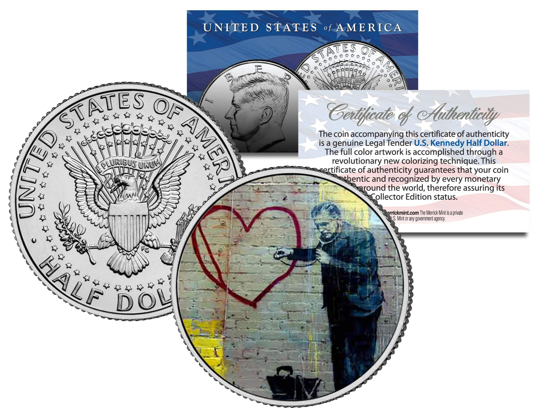 PEACEFUL HEARTS DOCTOR BANKSY Colorized JFK Half Dollar Coin Graphitti Art