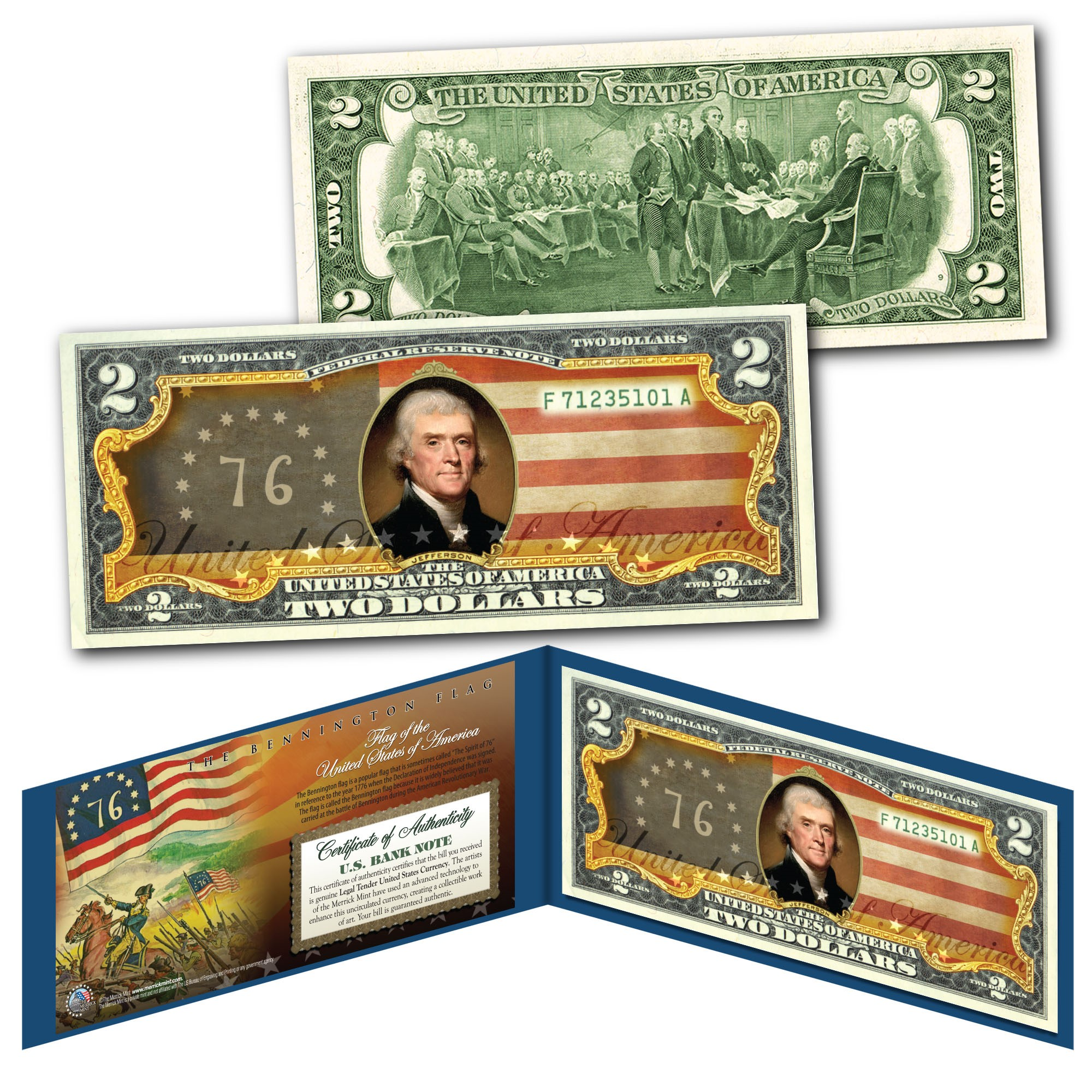 Declaration of Independence S//N of 76 Rency SIGNED on Genuine $2 US Bill Life
