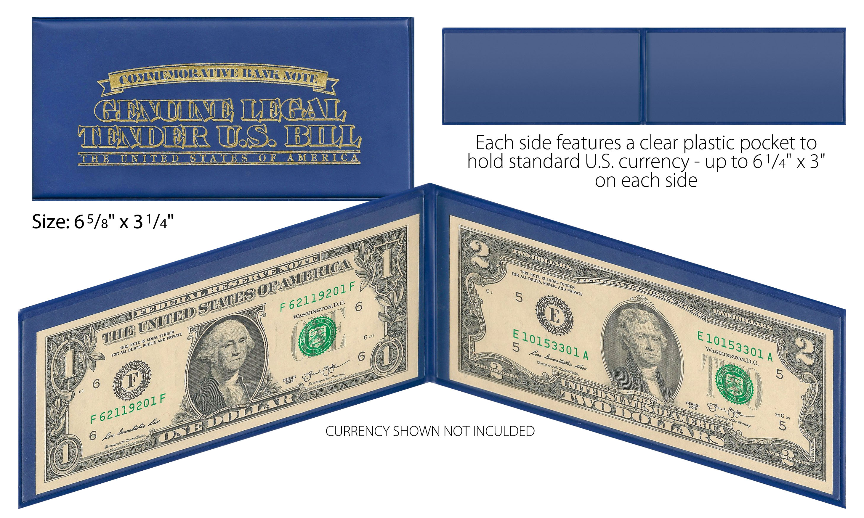 BLUE Premium Display Protection Folio for CURRENCY QTY 10 PAPER MONEY BILL