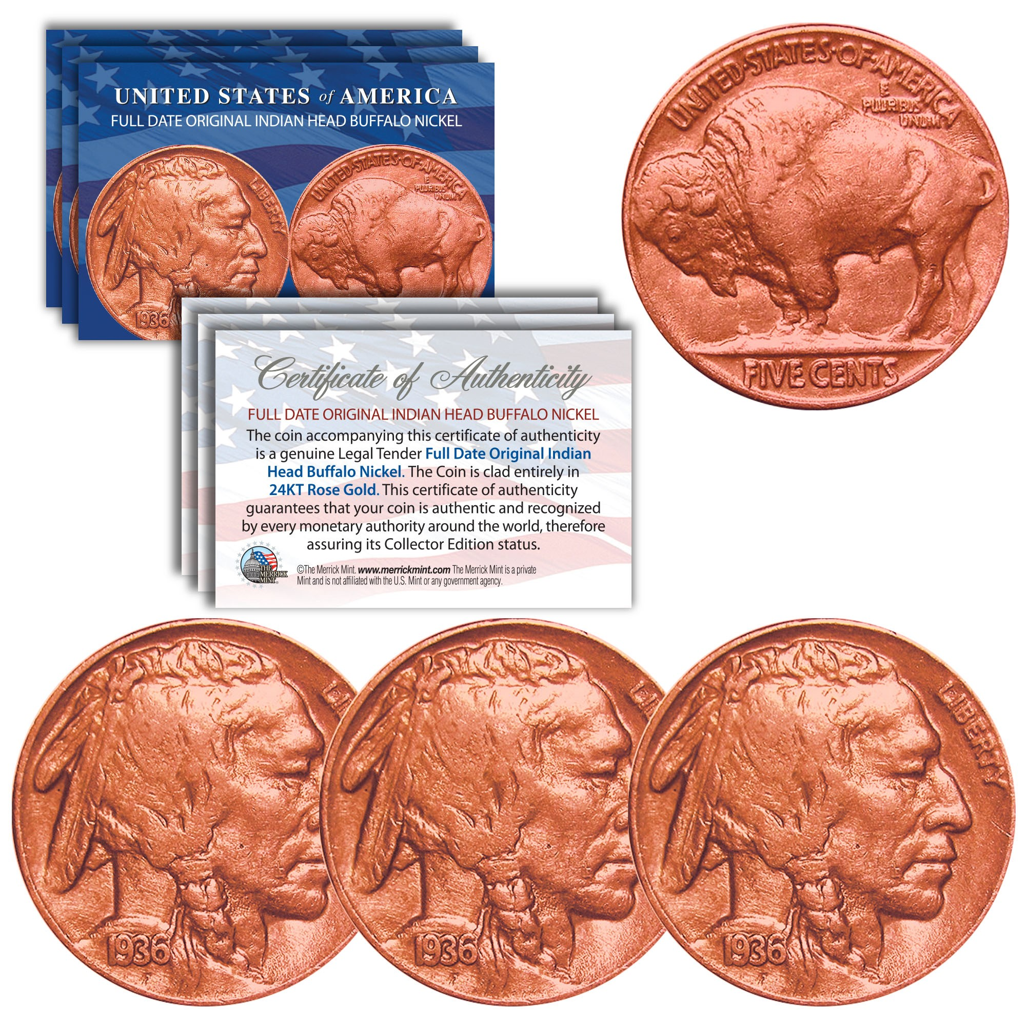 QTY of 3 Genuine ROSE GOLD plated Full Date BUFFALO INDIAN NICKELS US Coins