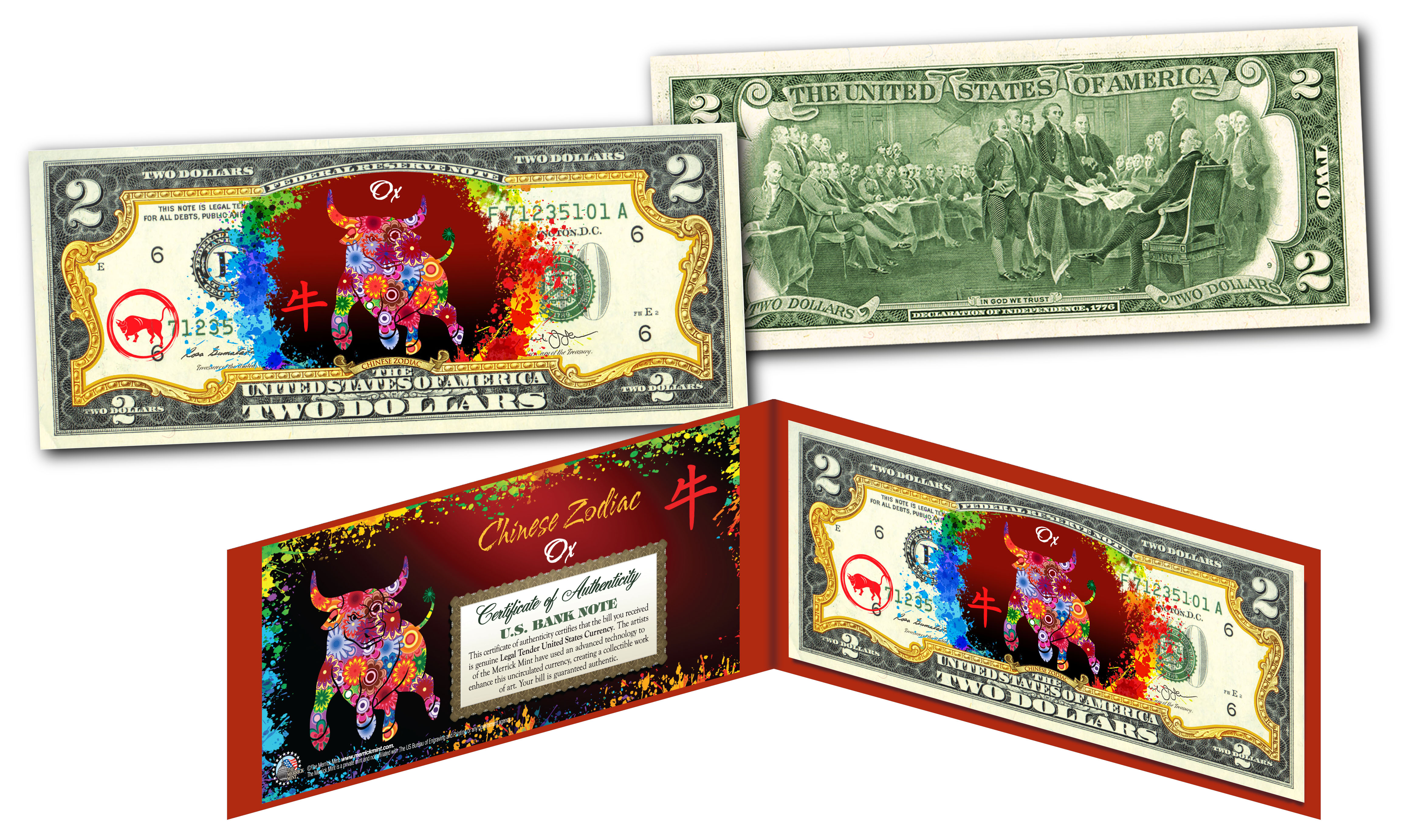 Details about YEAR of the OX - Chinese Zodiac Official $2 U S  Bill RED  POLYCHROME Edition