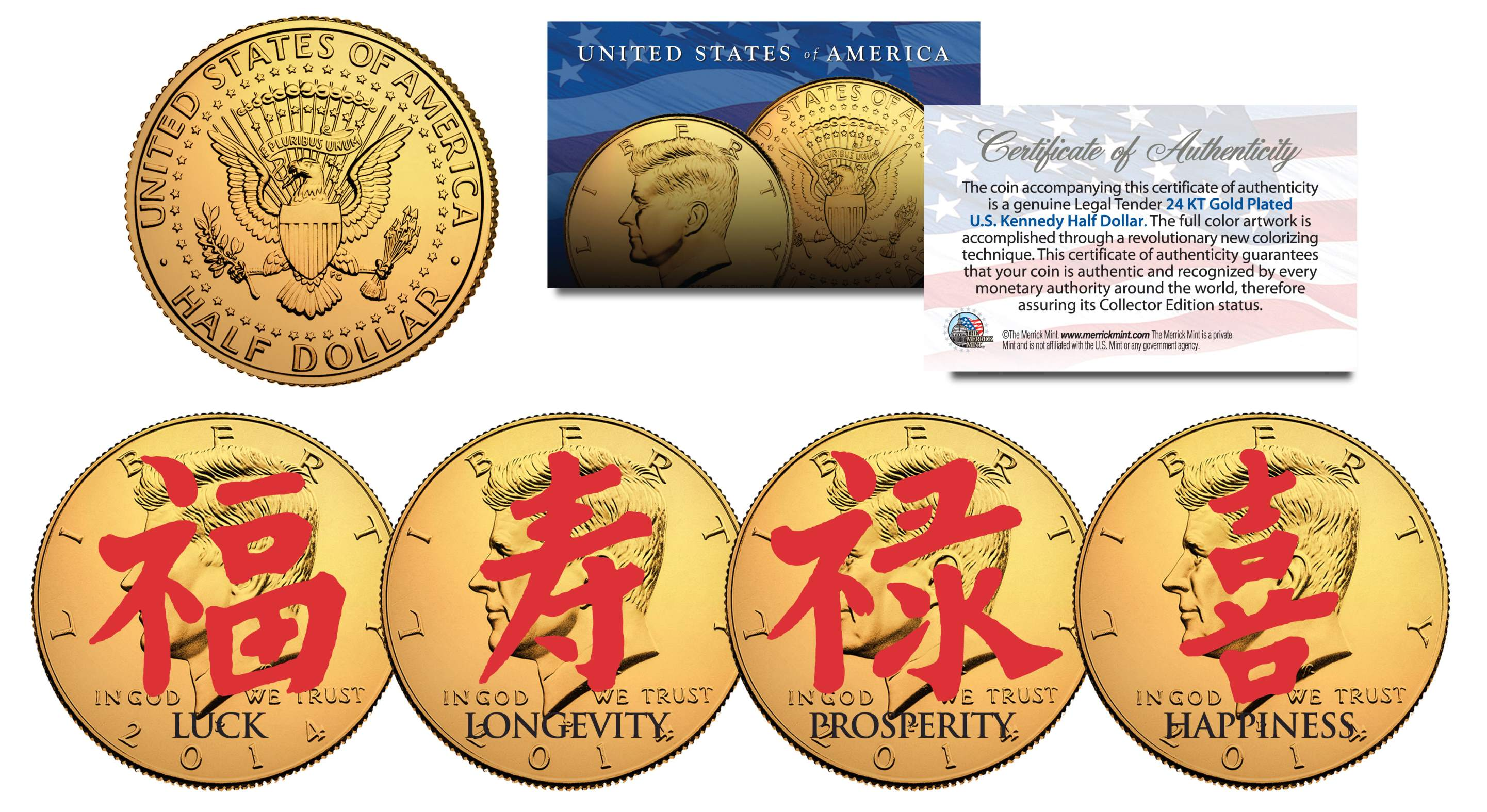 Chinese symbols for luck happiness 24k gold plated jfk half chinese symbols for luck happiness 24k gold plated jfk half dollars 4 coin set biocorpaavc Image collections
