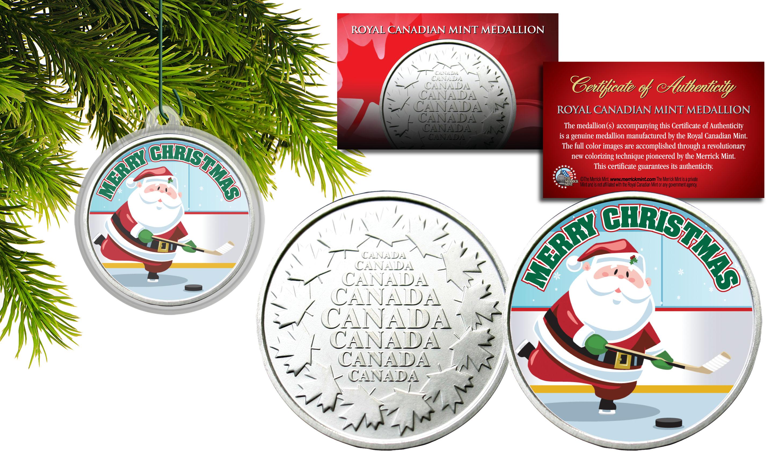 MERRY CHRISTMAS Santa Playing Hockey RCM Medallion Canada Coin XMAS ...