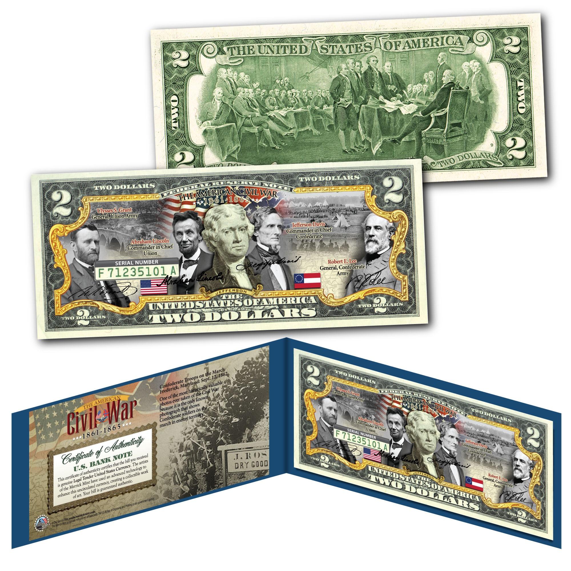 American Civil War CONFEDERATE /& UNION GENERALS Genuine $2 U.S Bills SET OF 2
