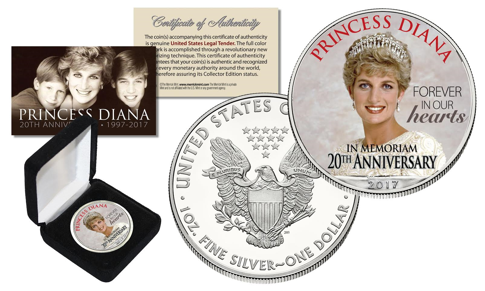 Princess Diana 20th Anniversary 1oz 999 Silver American