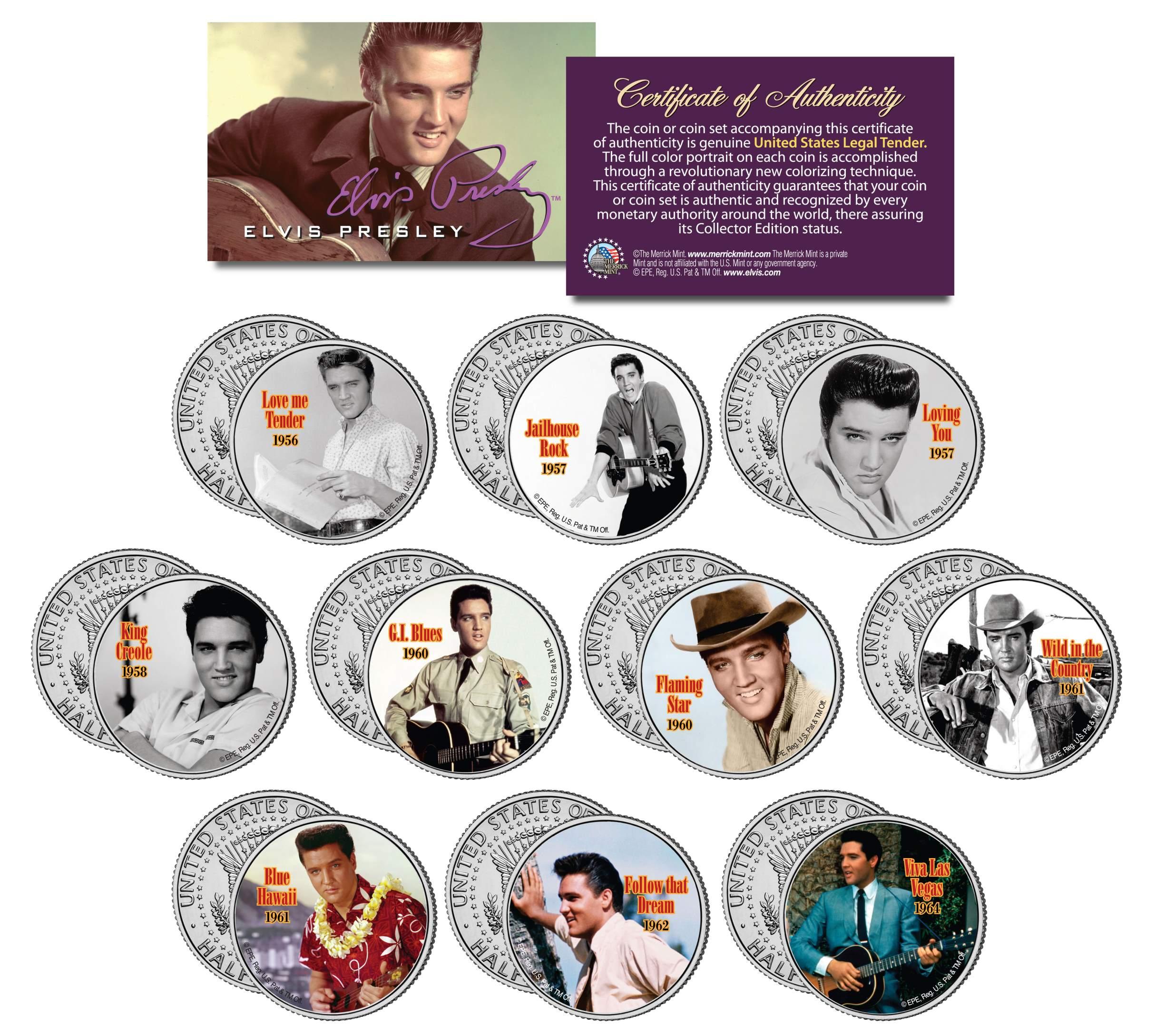 Colorized JFK Half Dollar U.S MOVIES 10-Coin Set JOHN WAYNE LICENSED *