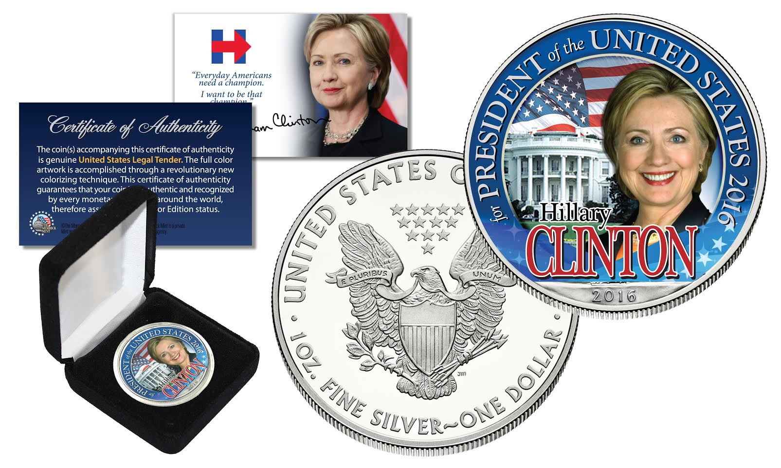 Hillary Clinton White House 2016 Pure 1oz Silver American
