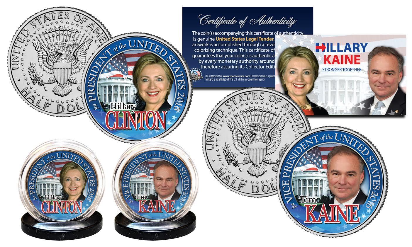 HILLARY /& BILL CLINTON Democrat Presidential OFFICIAL 2016 JFK Half Dollar Coin